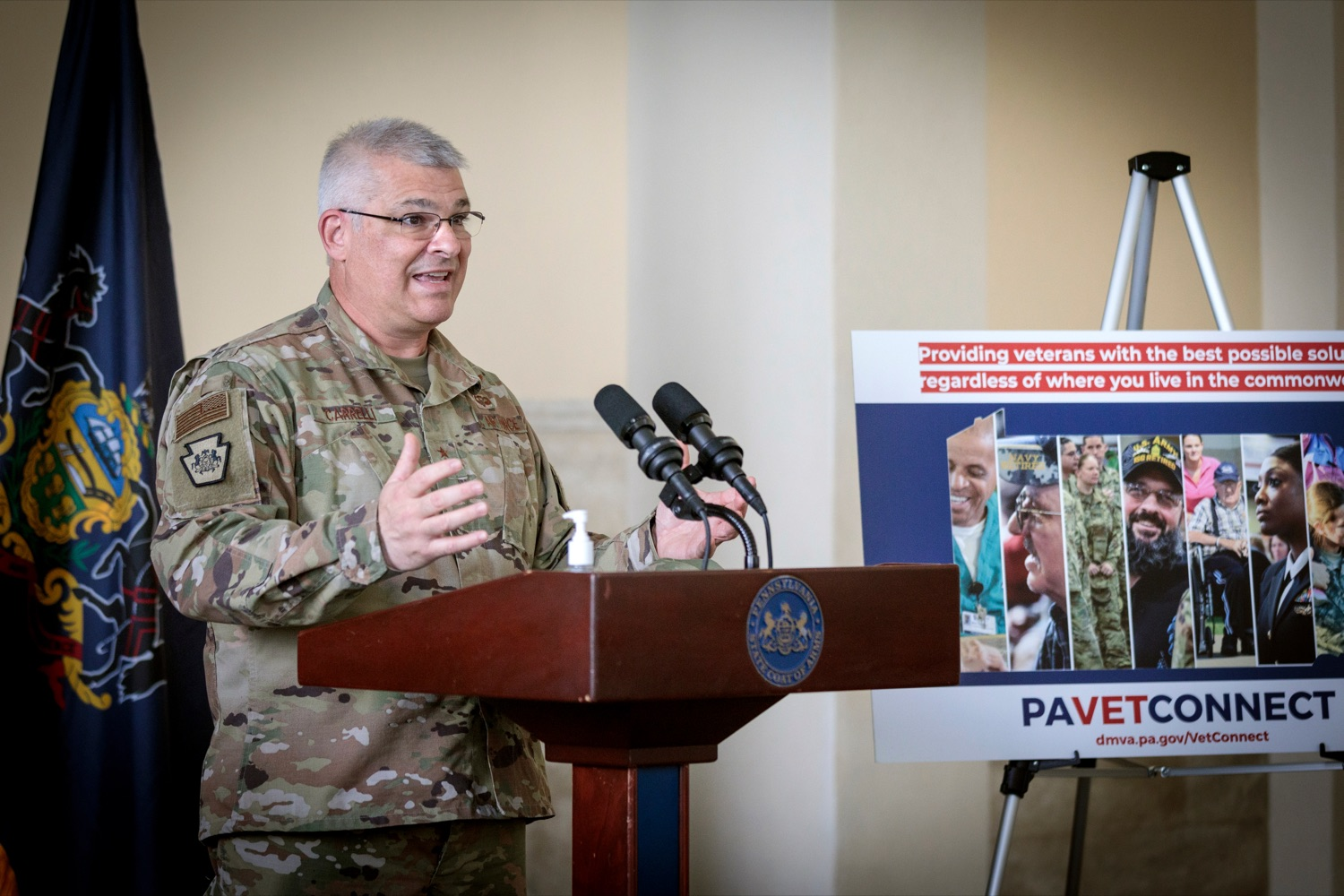 "<a href=""https://filesource.wostreaming.net/commonwealthofpa/photo/18376_DMVA_VET_Connect_NK_012.jpg"" target=""_blank"">⇣ Download Photo<br></a>Maj. Gen. Anthony Carrelli, Pennsylvanias adjutant general and head of the DMVA, speaks during a press conference announcing the launch of PA VETConnect, a statewide outreach initiative designed to better serve the commonwealths nearly 800,000 veterans, on Monday, November 9, 2020."
