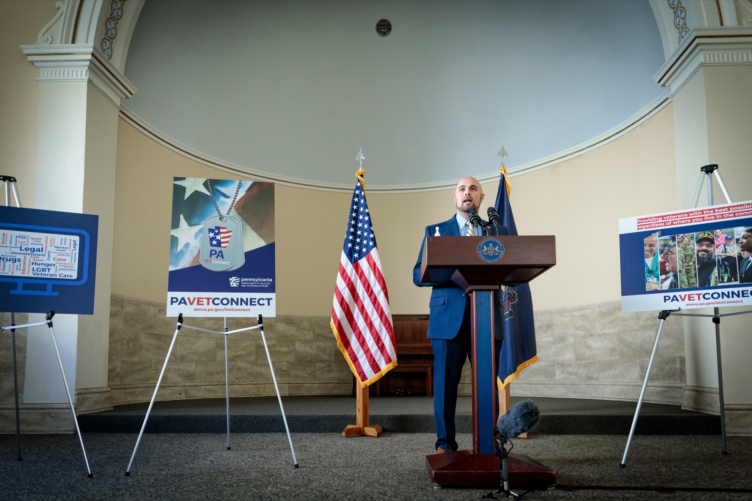 "<a href=""https://filesource.wostreaming.net/commonwealthofpa/photo/18376_DMVA_VET_Connect_NK_013.jpg"" target=""_blank"">⇣ Download Photo<br></a>Justin Slep. director of Veteran Affairs for Franklin County, speaks during a press conference announcing the launch of PA VETConnect, a statewide outreach initiative designed to better serve the commonwealths nearly 800,000 veterans, on Monday, November 9, 2020."