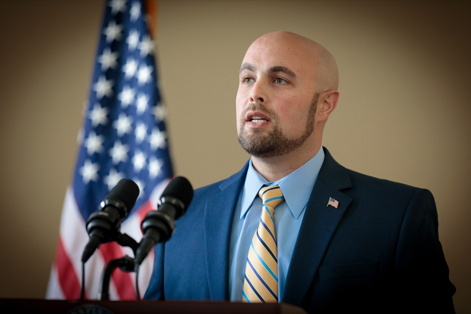 "<a href=""https://filesource.wostreaming.net/commonwealthofpa/photo/18376_DMVA_VET_Connect_NK_015.jpg"" target=""_blank"">⇣ Download Photo<br></a>Justin Slep. director of Veteran Affairs for Franklin County, speaks during a press conference announcing the launch of PA VETConnect, a statewide outreach initiative designed to better serve the commonwealths nearly 800,000 veterans, on Monday, November 9, 2020."