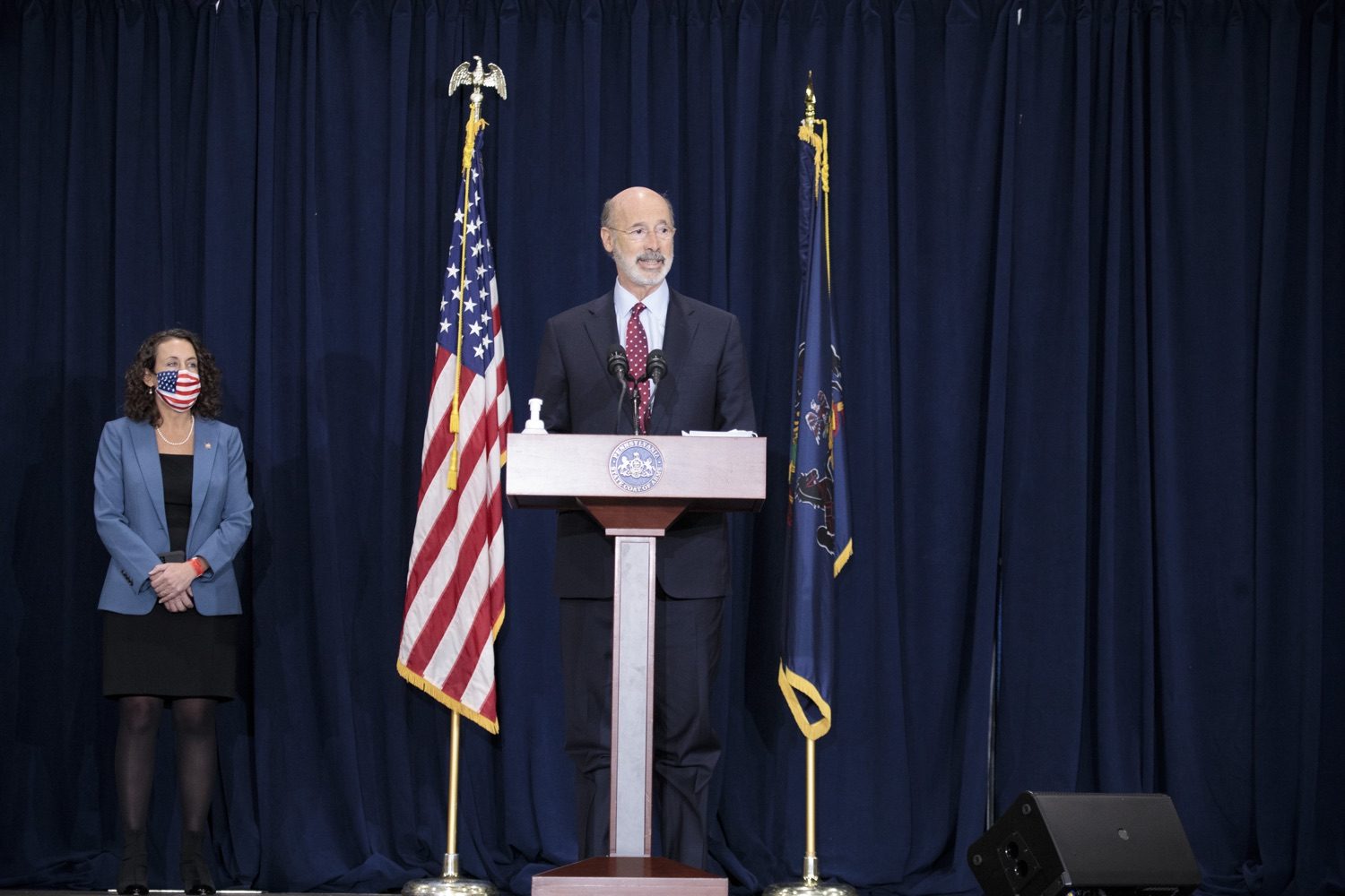 """<a href=""""https://filesource.wostreaming.net/commonwealthofpa/photo/18379_gov_election_update_dz_003.JPG"""" target=""""_blank"""">⇣Download Photo<br></a>Pennsylvania Governor Tom Wolf speaks to the press.  Governor Tom Wolf and Pennsylvania Secretary of State Kathy Boockvar gave an update on the election in Pennsylvania.  NOVEMBER 04, 2020 - HARRISBURG, PA"""