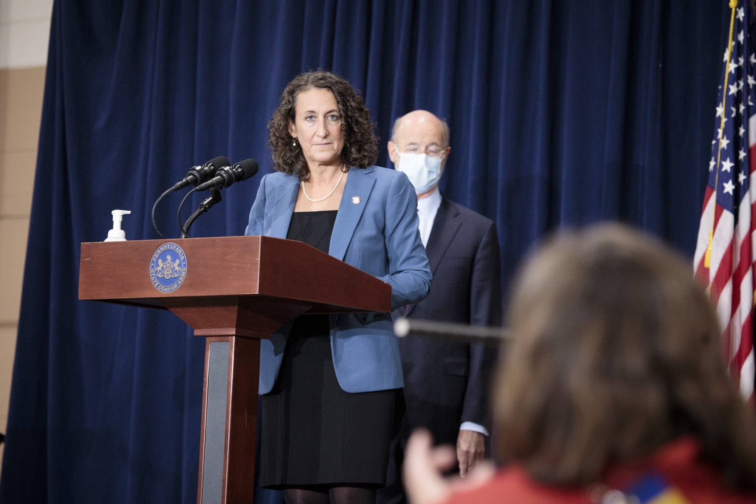 """<a href=""""https://filesource.wostreaming.net/commonwealthofpa/photo/18379_gov_election_update_dz_011.JPG"""" target=""""_blank"""">⇣Download Photo<br></a>Secretary of State Kathy Boockvar answers questions from the press.  Governor Tom Wolf and Pennsylvania Secretary of State Kathy Boockvar gave an update on the election in Pennsylvania.  NOVEMBER 04, 2020 - HARRISBURG, PA"""