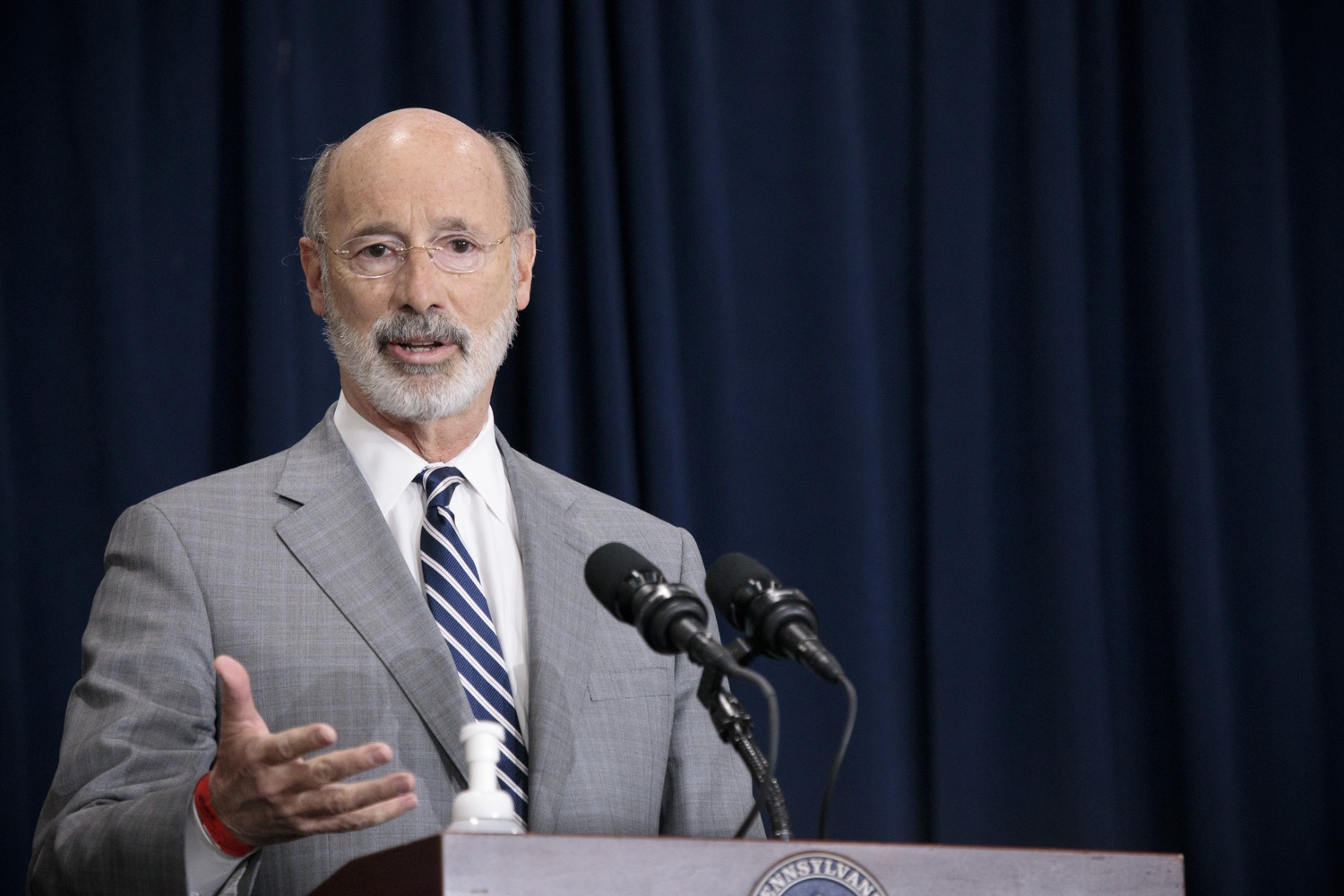 """<a href=""""https://filesource.wostreaming.net/commonwealthofpa/photo/18380_gov_election_update_dz_001.jpg"""" target=""""_blank"""">⇣Download Photo<br></a>Pennsylvania Governor Tom Wolf speaks to the press.  Governor Tom Wolf and Pennsylvania Secretary of State Kathy Boockvar gave an update on the election process in Pennsylvania. NOVEMBER 04, 2020 - HARRISBURG, PA"""