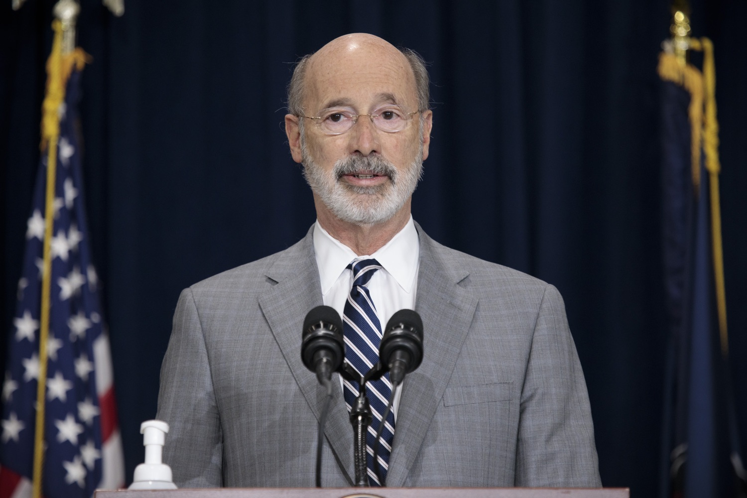 """<a href=""""https://filesource.wostreaming.net/commonwealthofpa/photo/18380_gov_election_update_dz_005.jpg"""" target=""""_blank"""">⇣Download Photo<br></a>Pennsylvania Governor Tom Wolf speaks to the press.  Governor Tom Wolf and Pennsylvania Secretary of State Kathy Boockvar gave an update on the election process in Pennsylvania. NOVEMBER 04, 2020 - HARRISBURG, PA"""