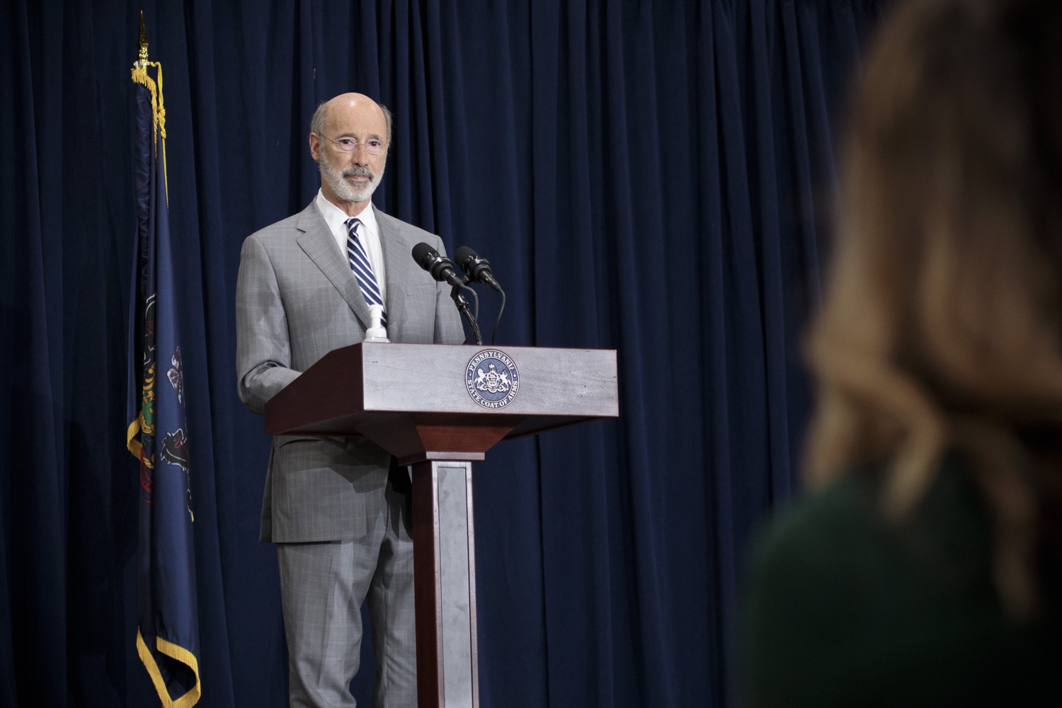 """<a href=""""https://filesource.wostreaming.net/commonwealthofpa/photo/18380_gov_election_update_dz_014.jpg"""" target=""""_blank"""">⇣Download Photo<br></a>Pennsylvania Governor Tom Wolf speaks to the press.  Governor Tom Wolf and Pennsylvania Secretary of State Kathy Boockvar gave an update on the election process in Pennsylvania. NOVEMBER 04, 2020 - HARRISBURG, PA"""