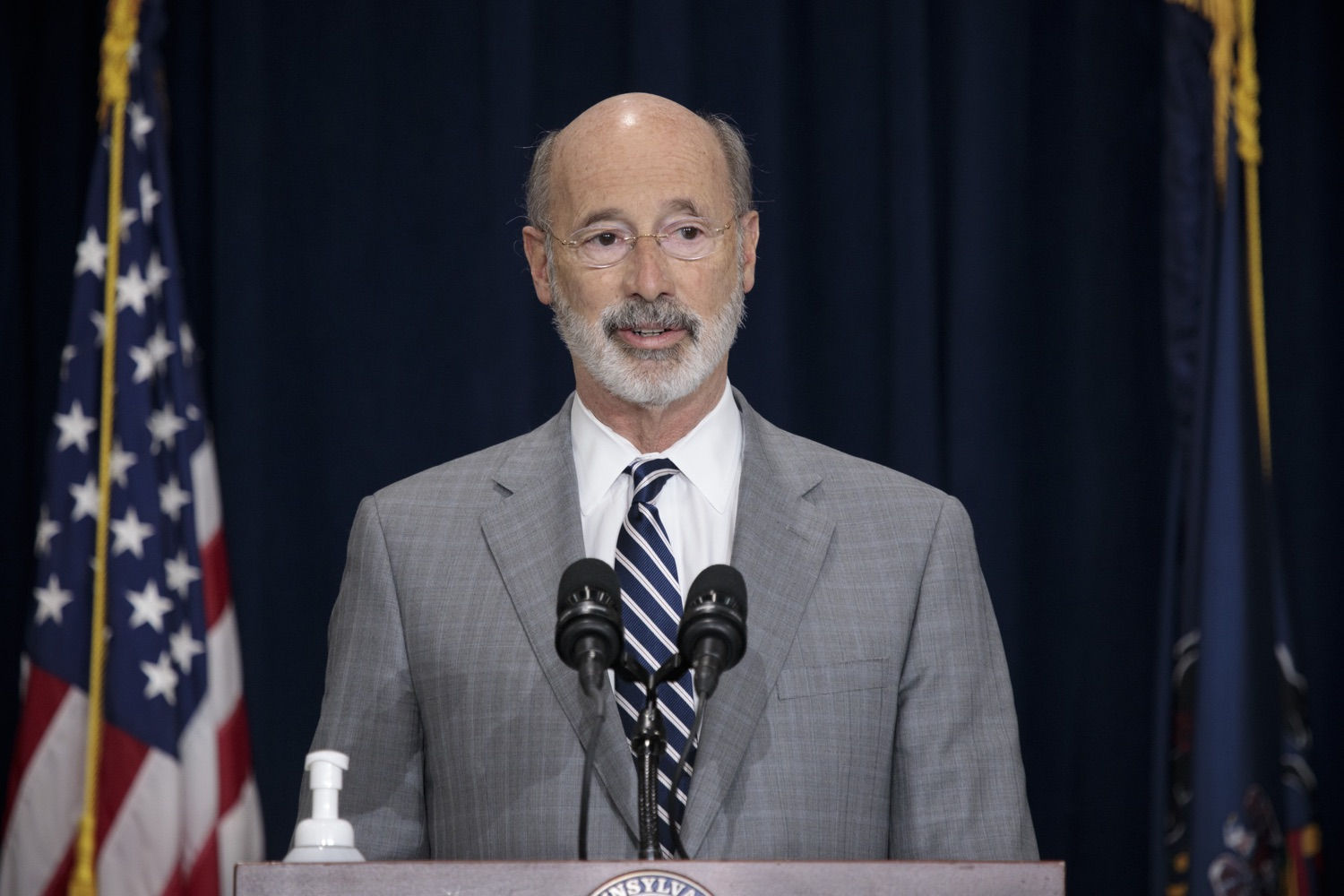 """<a href=""""https://filesource.wostreaming.net/commonwealthofpa/photo/18380_gov_election_update_dz_015.jpg"""" target=""""_blank"""">⇣Download Photo<br></a>Pennsylvania Governor Tom Wolf speaks to the press.  Governor Tom Wolf and Pennsylvania Secretary of State Kathy Boockvar gave an update on the election process in Pennsylvania. NOVEMBER 04, 2020 - HARRISBURG, PA"""
