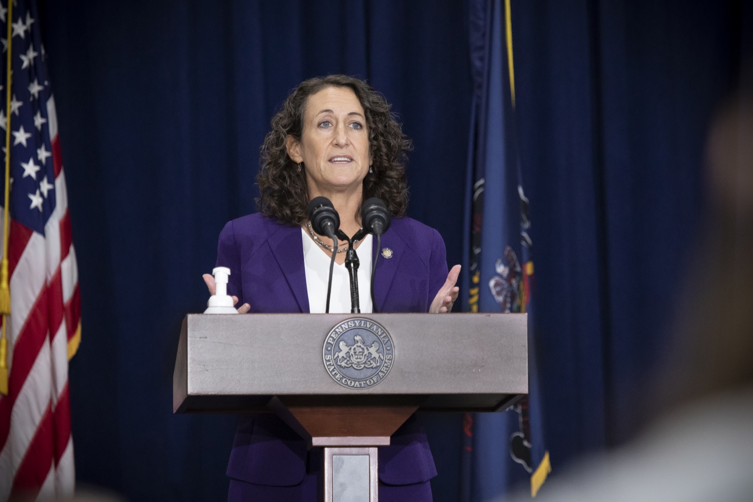 "<a href=""https://filesource.wostreaming.net/commonwealthofpa/photo/18385_gov_electionUpdate_dz_009.jpg"" target=""_blank"">⇣ Download Photo<br></a>Secretary of State Kathy Boockvar answers questions from the press.  Governor Tom Wolf and Pennsylvania Secretary of State Kathy Boockvar gave an update on the election process in Pennsylvania. November 05, 2020 - Harrisburg, PA"