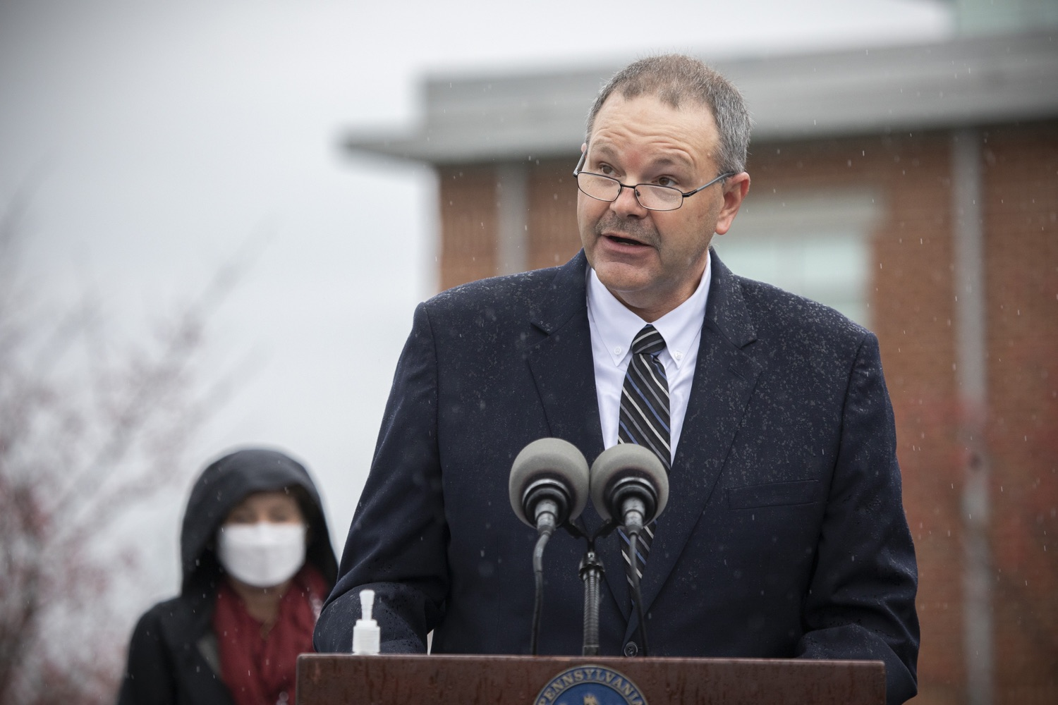 "<a href=""https://filesource.wostreaming.net/commonwealthofpa/photo/18395_doh_title32_dz_016.jpg"" target=""_blank"">⇣ Download Photo<br></a>PEMA Director Randy Padfield speaking to the press.   The Wolf Administration, with the support of U.S. Sen. Bob Casey and U.S. Rep. Chrissy Houlahan, today urged the federal government to reauthorize Title 32 to allow Pennsylvania National Guard members to carry out missions that assist long-term care facilities affected by COVID-19 in Pennsylvania. Harrisburg, PA  November 12, 2020  .."