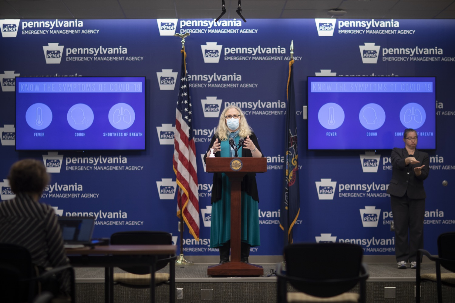 """<a href=""""https://filesource.wostreaming.net/commonwealthofpa/photo/18403_doh_covid_vaccinations_dz_003.JPG"""" target=""""_blank"""">⇣Download Photo<br></a>Pennsylvania Secretary of Health Dr. Levine speaking at todays virtual press conference. The Pennsylvania Department of Health today confirmed as of 12:00 a.m., November 19, that there were 7,126 additional positive cases of COVID-19, bringing the statewide total to 288,978. This is the highest daily increase of cases.  Harrisburg, PA - November 19, 2020"""