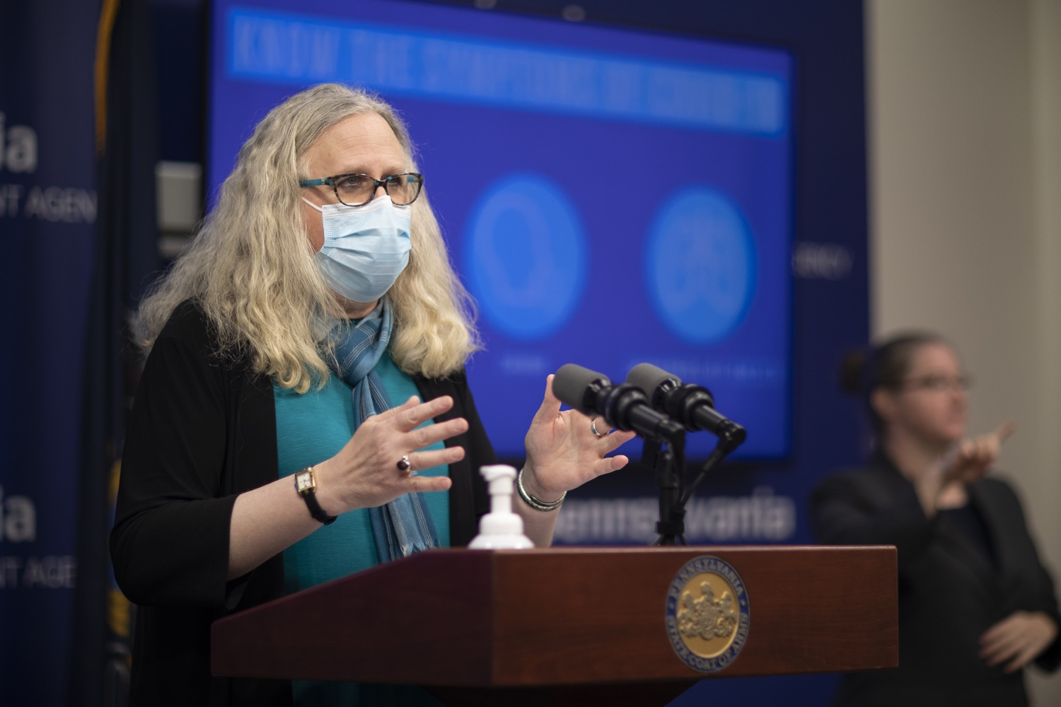 """<a href=""""https://filesource.wostreaming.net/commonwealthofpa/photo/18403_doh_covid_vaccinations_dz_005.JPG"""" target=""""_blank"""">⇣Download Photo<br></a>Pennsylvania Secretary of Health Dr. Levine speaking at todays virtual press conference. The Pennsylvania Department of Health today confirmed as of 12:00 a.m., November 19, that there were 7,126 additional positive cases of COVID-19, bringing the statewide total to 288,978. This is the highest daily increase of cases.  Harrisburg, PA - November 19, 2020"""