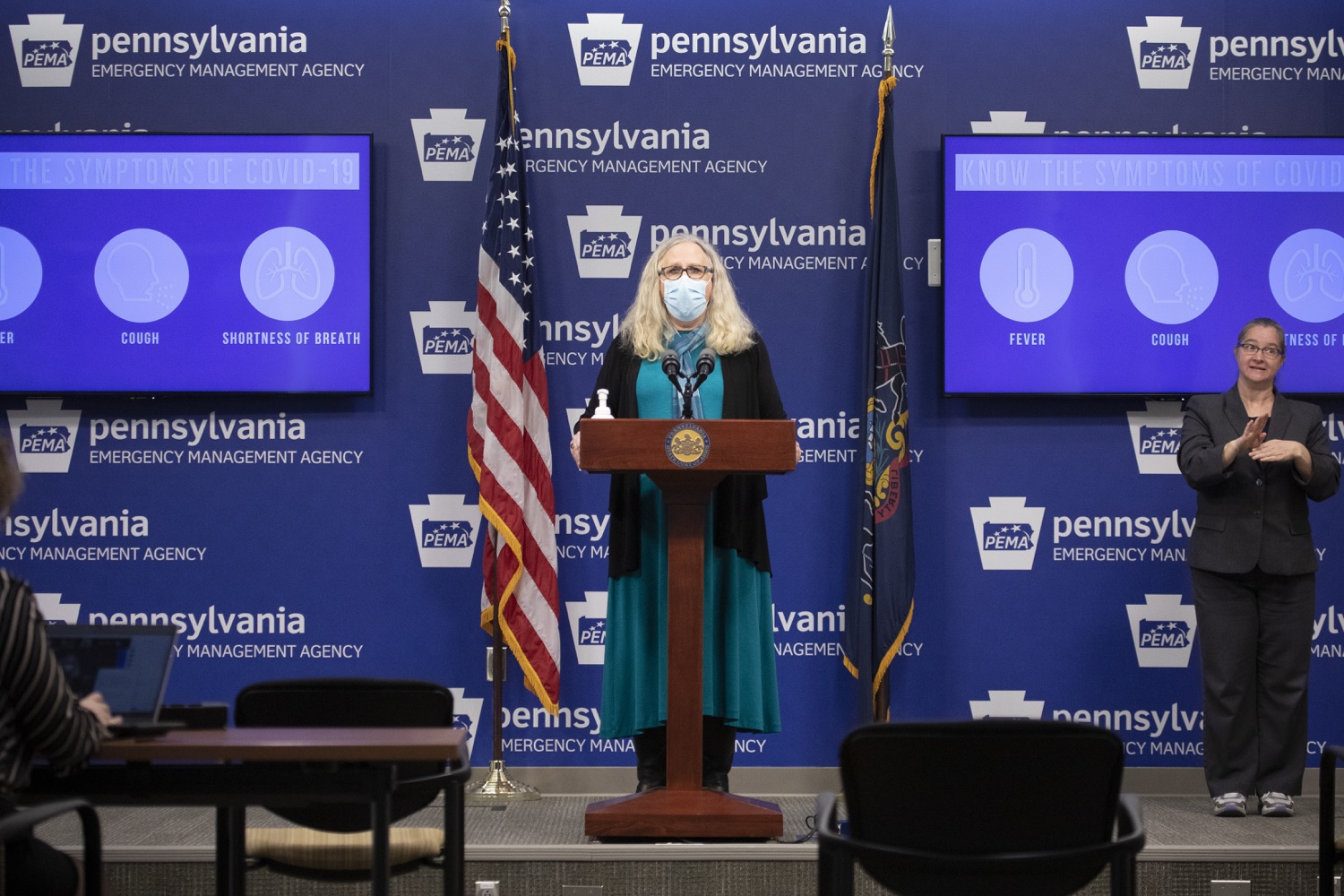 """<a href=""""https://filesource.wostreaming.net/commonwealthofpa/photo/18403_doh_covid_vaccinations_dz_009.JPG"""" target=""""_blank"""">⇣Download Photo<br></a>Pennsylvania Secretary of Health Dr. Levine speaking at todays virtual press conference. The Pennsylvania Department of Health today confirmed as of 12:00 a.m., November 19, that there were 7,126 additional positive cases of COVID-19, bringing the statewide total to 288,978. This is the highest daily increase of cases.  Harrisburg, PA - November 19, 2020"""
