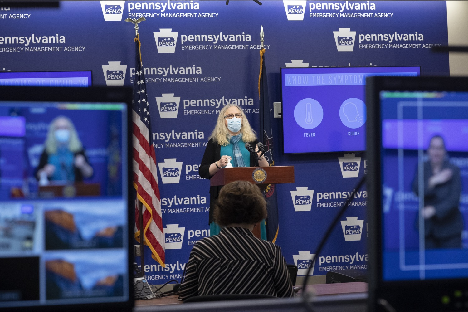 """<a href=""""https://filesource.wostreaming.net/commonwealthofpa/photo/18403_doh_covid_vaccinations_dz_013.JPG"""" target=""""_blank"""">⇣Download Photo<br></a>Pennsylvania Secretary of Health Dr. Levine speaking at todays virtual press conference. The Pennsylvania Department of Health today confirmed as of 12:00 a.m., November 19, that there were 7,126 additional positive cases of COVID-19, bringing the statewide total to 288,978. This is the highest daily increase of cases.  Harrisburg, PA - November 19, 2020"""