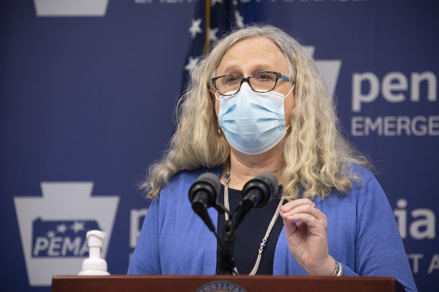 "<a href=""https://filesource.wostreaming.net/commonwealthofpa/photo/18405_gov_covidUpdate_dz_002.jpg"" target=""_blank"">⇣ Download Photo<br></a>Secretary of Health Dr. Rachel Levine speaking to the press.   With new modeling projecting 22,000 new COVID-19 cases per day in Pennsylvania in December, Governor Tom Wolf and Secretary of Health Dr. Rachel Levine today announced new targeted mitigation measures to help stop the spread during this critical time. These include a robust enforcement plan targeted at chronic violators along with an effort to ensure schools are safe and in compliance with COVID safety plans. The administration is also encouraging Pennsylvanians to limit unnecessary travel and stay at home.  Harrisburg, Pa. November 23, 2020"