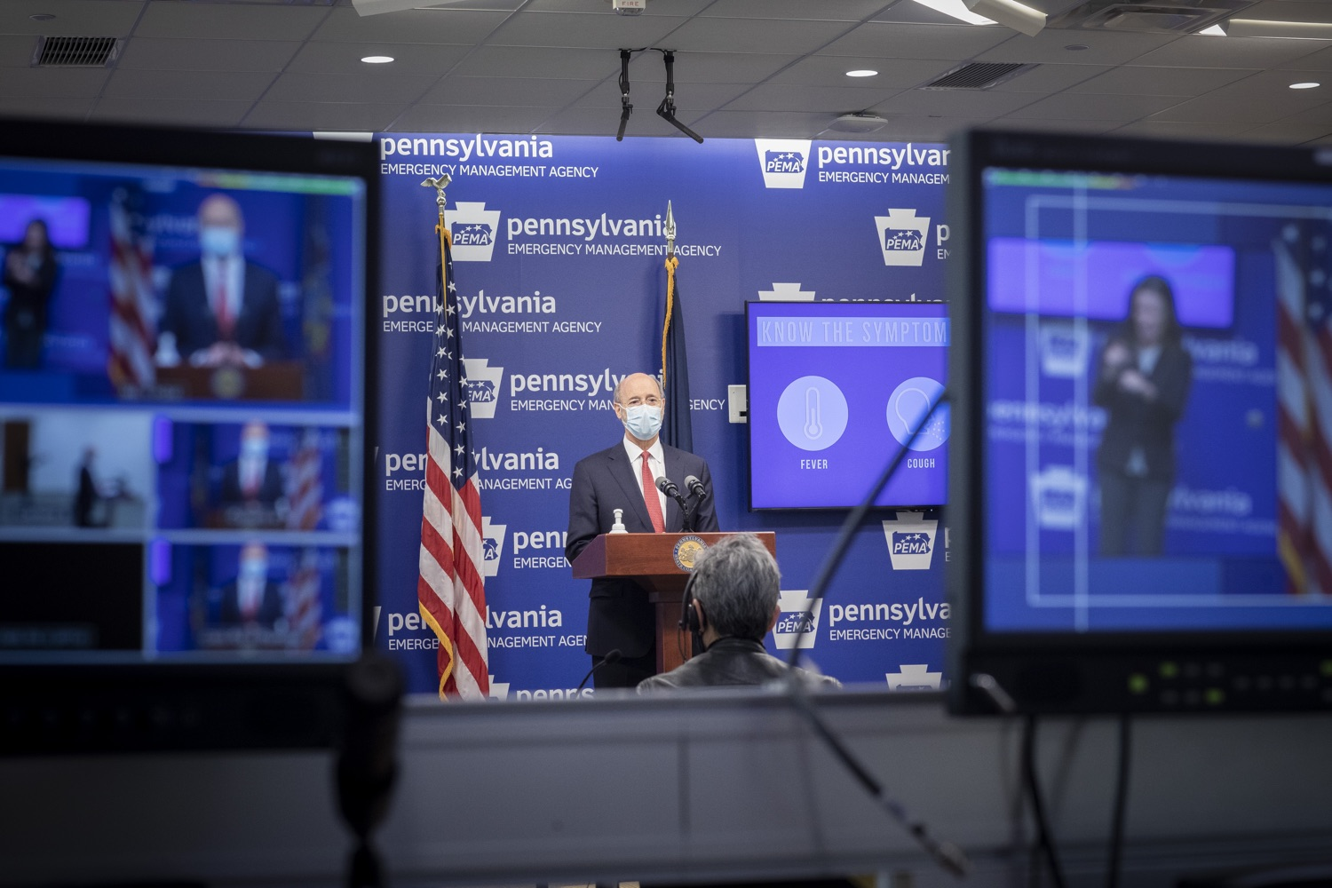 "<a href=""https://filesource.wostreaming.net/commonwealthofpa/photo/18405_gov_covidUpdate_dz_005.jpg"" target=""_blank"">⇣ Download Photo<br></a>Pennsylvania Governor Tom Wolf answers questions from the press.  With new modeling projecting 22,000 new COVID-19 cases per day in Pennsylvania in December, Governor Tom Wolf and Secretary of Health Dr. Rachel Levine today announced new targeted mitigation measures to help stop the spread during this critical time. These include a robust enforcement plan targeted at chronic violators along with an effort to ensure schools are safe and in compliance with COVID safety plans. The administration is also encouraging Pennsylvanians to limit unnecessary travel and stay at home.  Harrisburg, Pa. November 23, 2020"