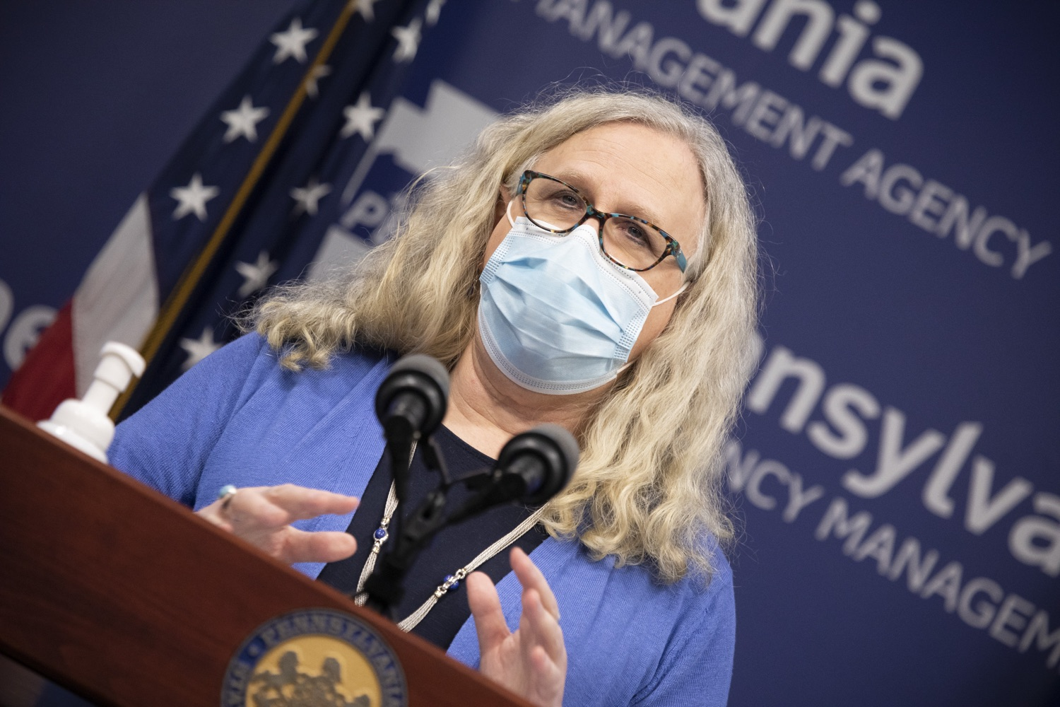 "<a href=""https://filesource.wostreaming.net/commonwealthofpa/photo/18405_gov_covidUpdate_dz_007.jpg"" target=""_blank"">⇣ Download Photo<br></a>Secretary of Health Dr. Rachel Levine speaking to the press.   With new modeling projecting 22,000 new COVID-19 cases per day in Pennsylvania in December, Governor Tom Wolf and Secretary of Health Dr. Rachel Levine today announced new targeted mitigation measures to help stop the spread during this critical time. These include a robust enforcement plan targeted at chronic violators along with an effort to ensure schools are safe and in compliance with COVID safety plans. The administration is also encouraging Pennsylvanians to limit unnecessary travel and stay at home.  Harrisburg, Pa. November 23, 2020"