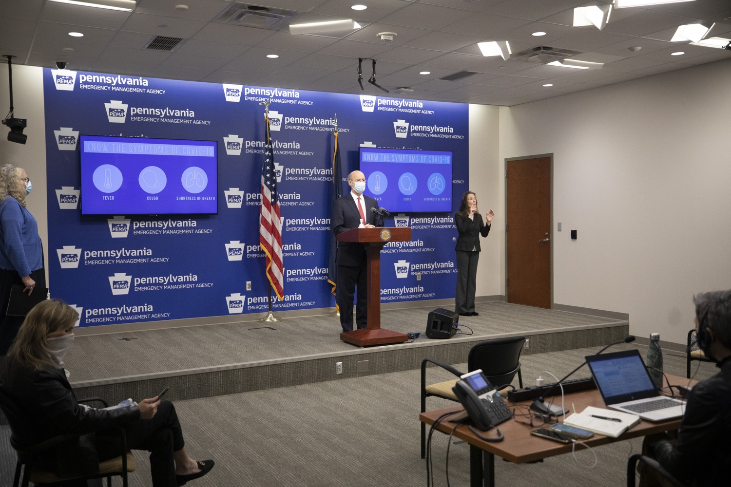"<a href=""https://filesource.wostreaming.net/commonwealthofpa/photo/18405_gov_covidUpdate_dz_013.jpg"" target=""_blank"">⇣ Download Photo<br></a>Pennsylvania Governor Tom Wolf answers questions from the press.  With new modeling projecting 22,000 new COVID-19 cases per day in Pennsylvania in December, Governor Tom Wolf and Secretary of Health Dr. Rachel Levine today announced new targeted mitigation measures to help stop the spread during this critical time. These include a robust enforcement plan targeted at chronic violators along with an effort to ensure schools are safe and in compliance with COVID safety plans. The administration is also encouraging Pennsylvanians to limit unnecessary travel and stay at home.  Harrisburg, Pa. November 23, 2020"