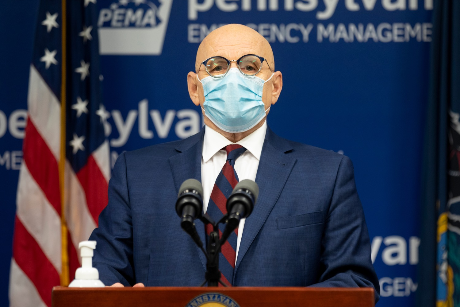 """<a href=""""https://filesource.wostreaming.net/commonwealthofpa/photo/18464_DOH_Contact_Tracing_NK_004.jpg"""" target=""""_blank"""">⇣Download Photo<br></a>Pennsylvania Testing and Contact Tracing Director Michael Huff speaks during a press conference, which discussed contact tracing efforts, inside Pennsylvania Emergency Management Agency (PEMA) on Tuesday, January 5, 2021."""