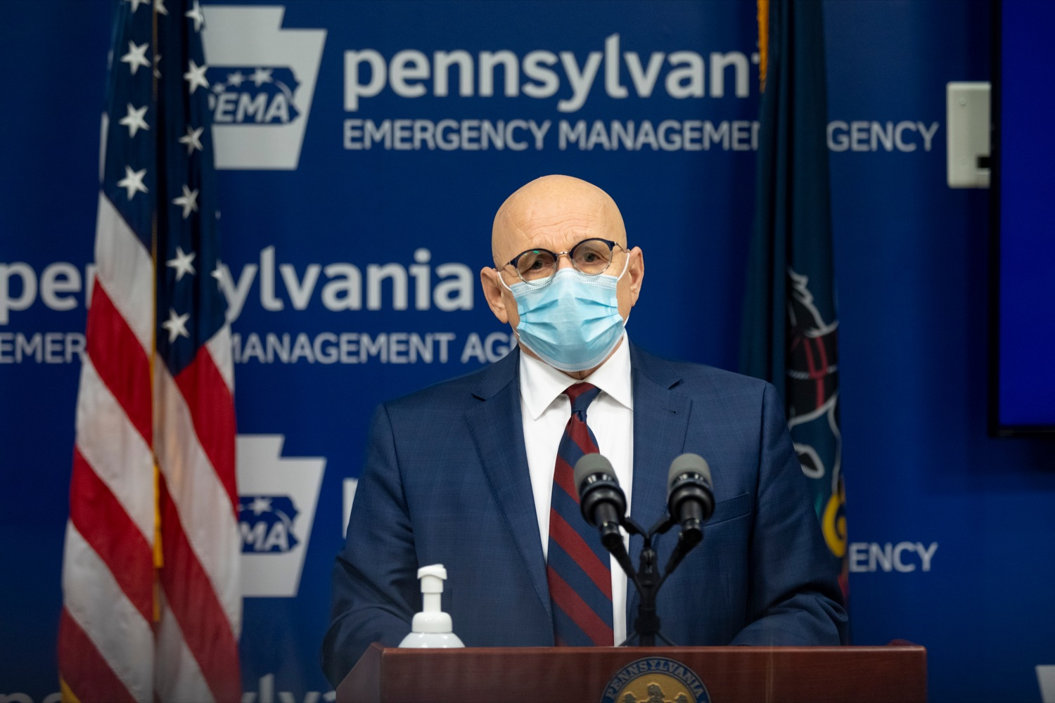 """<a href=""""https://filesource.wostreaming.net/commonwealthofpa/photo/18464_DOH_Contact_Tracing_NK_009.jpg"""" target=""""_blank"""">⇣Download Photo<br></a>Pennsylvania Testing and Contact Tracing Director Michael Huff speaks during a press conference, which discussed contact tracing efforts, inside Pennsylvania Emergency Management Agency (PEMA) on Tuesday, January 5, 2021."""