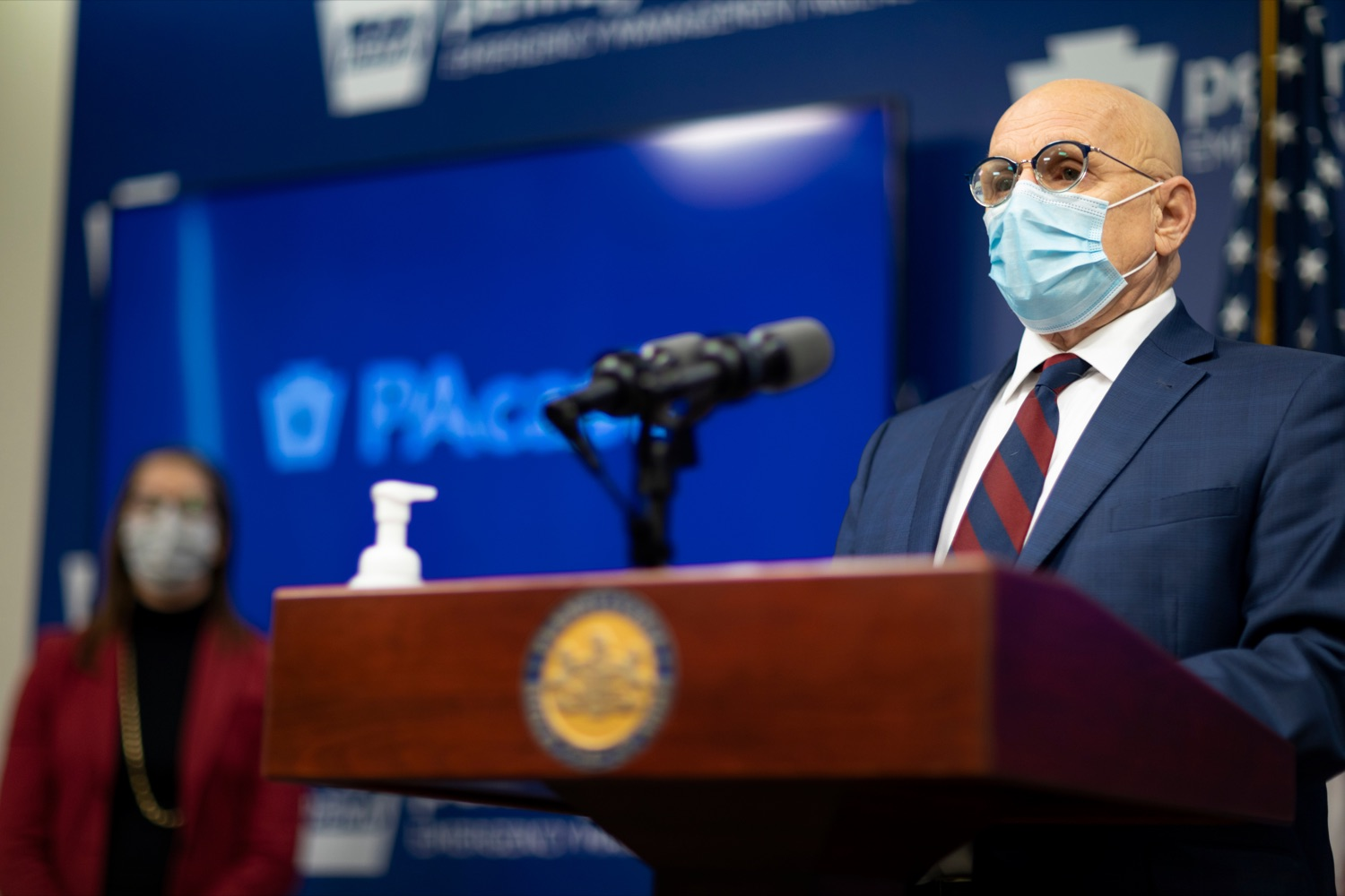 """<a href=""""https://filesource.wostreaming.net/commonwealthofpa/photo/18464_DOH_Contact_Tracing_NK_010.jpg"""" target=""""_blank"""">⇣Download Photo<br></a>Pennsylvania Testing and Contact Tracing Director Michael Huff speaks during a press conference, which discussed contact tracing efforts, inside Pennsylvania Emergency Management Agency (PEMA) on Tuesday, January 5, 2021."""