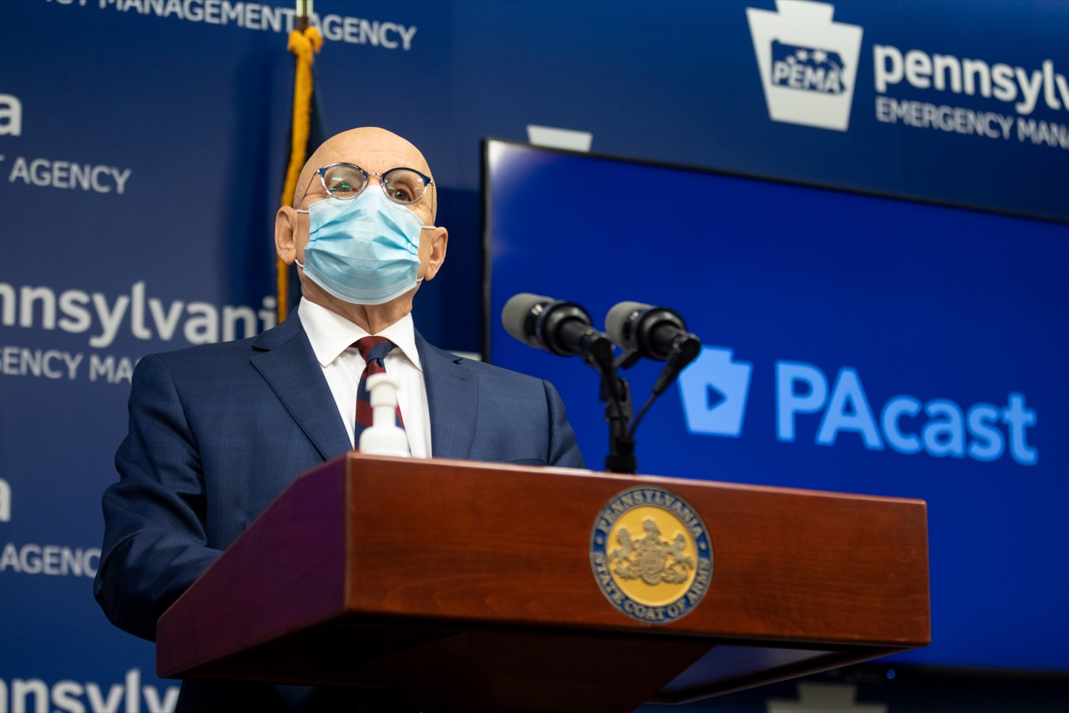"""<a href=""""https://filesource.wostreaming.net/commonwealthofpa/photo/18464_DOH_Contact_Tracing_NK_012.jpg"""" target=""""_blank"""">⇣Download Photo<br></a>Pennsylvania Testing and Contact Tracing Director Michael Huff speaks during a press conference, which discussed contact tracing efforts, inside Pennsylvania Emergency Management Agency (PEMA) on Tuesday, January 5, 2021."""