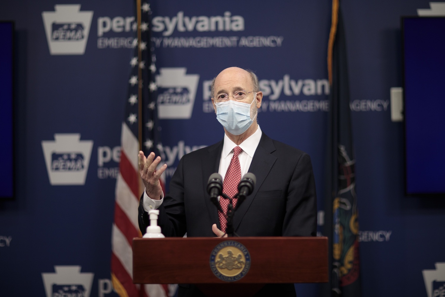 """<a href=""""https://filesource.wostreaming.net/commonwealthofpa/photo/18465_gov_electoralCollege_dz_01.jpg"""" target=""""_blank"""">⇣Download Photo<br></a>Pennsylvania Governor Tom Wolf speaking at the press conference.  With Congress preparing to count Electoral College votes today, Governor Tom Wolf was joined by Secretary of State Kathy Boockvar and Philadelphia City Commissioner Al Schmidt to emphasize that Pennsylvania had a free, fair and secure election. All efforts by Congressional Republicans to overthrow the election results and subvert the will of the voters are disgraceful and must be rejected. Harrisburg, PA  January 6, 2021"""