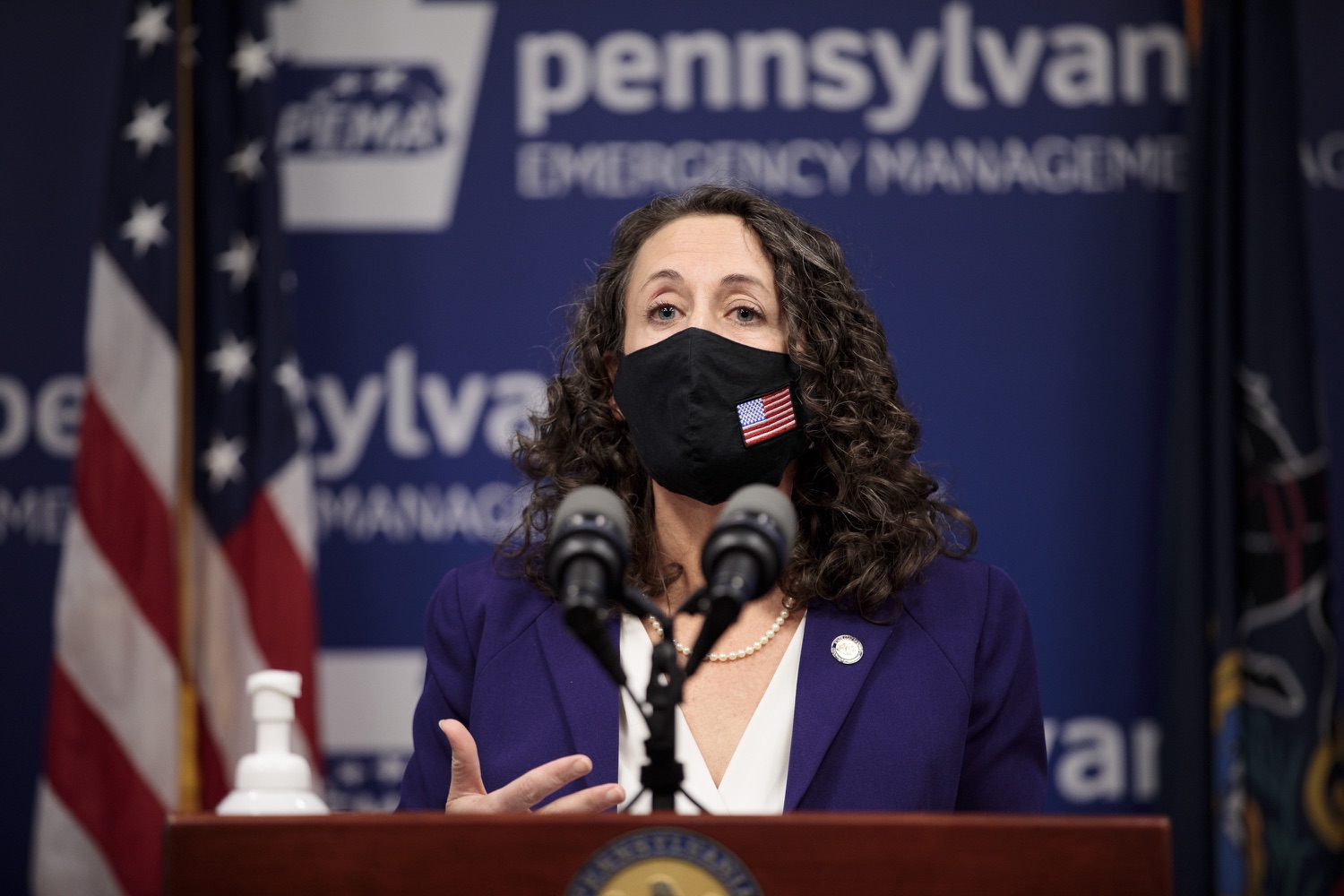 """<a href=""""https://filesource.wostreaming.net/commonwealthofpa/photo/18465_gov_electoralCollege_dz_03.jpg"""" target=""""_blank"""">⇣Download Photo<br></a>Secretary of the Commonwealth of Pennsylvania Kathy Boockvar speaking at the press conference.  With Congress preparing to count Electoral College votes today, Governor Tom Wolf was joined by Secretary of State Kathy Boockvar and Philadelphia City Commissioner Al Schmidt to emphasize that Pennsylvania had a free, fair and secure election. All efforts by Congressional Republicans to overthrow the election results and subvert the will of the voters are disgraceful and must be rejected. Harrisburg, PA  January 6, 2021"""