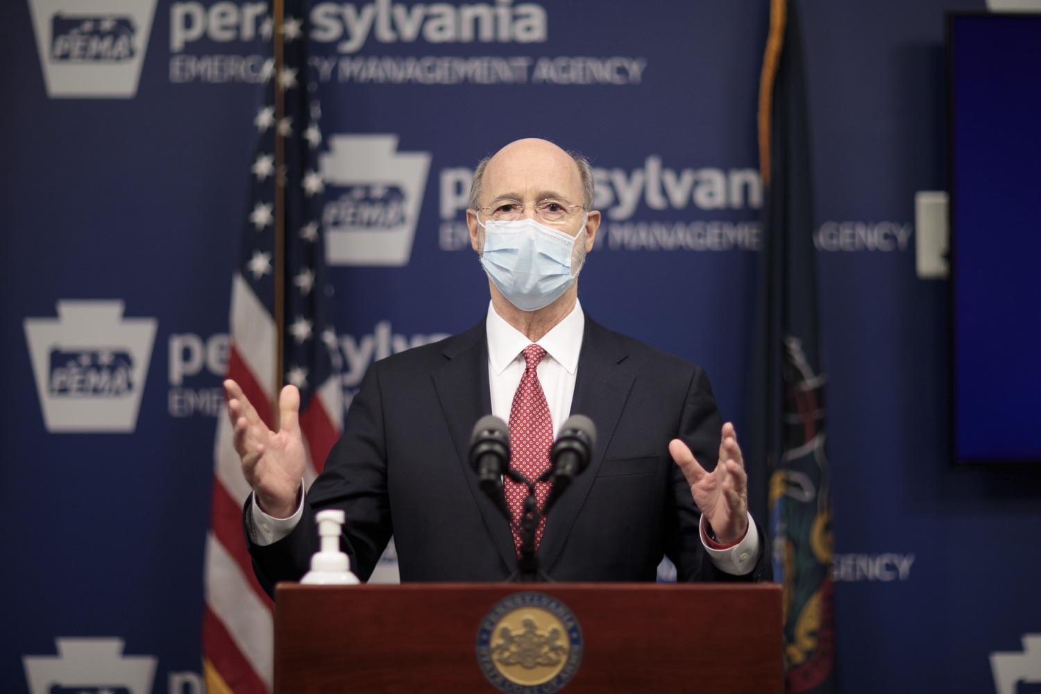 """<a href=""""https://filesource.wostreaming.net/commonwealthofpa/photo/18465_gov_electoralCollege_dz_04.jpg"""" target=""""_blank"""">⇣Download Photo<br></a>Pennsylvania Governor Tom Wolf speaking at the press conference.  With Congress preparing to count Electoral College votes today, Governor Tom Wolf was joined by Secretary of State Kathy Boockvar and Philadelphia City Commissioner Al Schmidt to emphasize that Pennsylvania had a free, fair and secure election. All efforts by Congressional Republicans to overthrow the election results and subvert the will of the voters are disgraceful and must be rejected. Harrisburg, PA  January 6, 2021"""