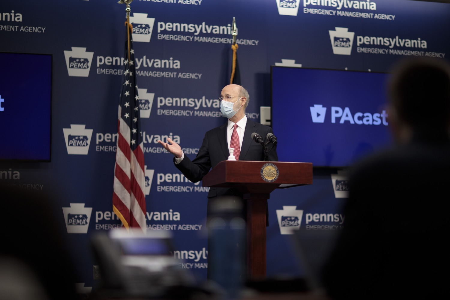 """<a href=""""https://filesource.wostreaming.net/commonwealthofpa/photo/18465_gov_electoralCollege_dz_05.jpg"""" target=""""_blank"""">⇣Download Photo<br></a>Pennsylvania Governor Tom Wolf speaking at the press conference.  With Congress preparing to count Electoral College votes today, Governor Tom Wolf was joined by Secretary of State Kathy Boockvar and Philadelphia City Commissioner Al Schmidt to emphasize that Pennsylvania had a free, fair and secure election. All efforts by Congressional Republicans to overthrow the election results and subvert the will of the voters are disgraceful and must be rejected. Harrisburg, PA  January 6, 2021"""