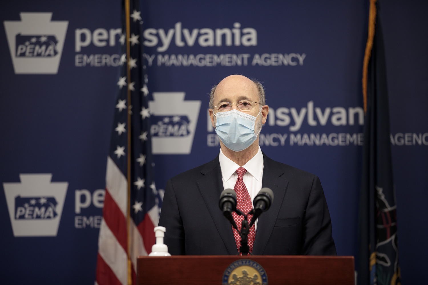 """<a href=""""https://filesource.wostreaming.net/commonwealthofpa/photo/18465_gov_electoralCollege_dz_06.jpg"""" target=""""_blank"""">⇣Download Photo<br></a>Pennsylvania Governor Tom Wolf speaking at the press conference.  With Congress preparing to count Electoral College votes today, Governor Tom Wolf was joined by Secretary of State Kathy Boockvar and Philadelphia City Commissioner Al Schmidt to emphasize that Pennsylvania had a free, fair and secure election. All efforts by Congressional Republicans to overthrow the election results and subvert the will of the voters are disgraceful and must be rejected. Harrisburg, PA  January 6, 2021"""