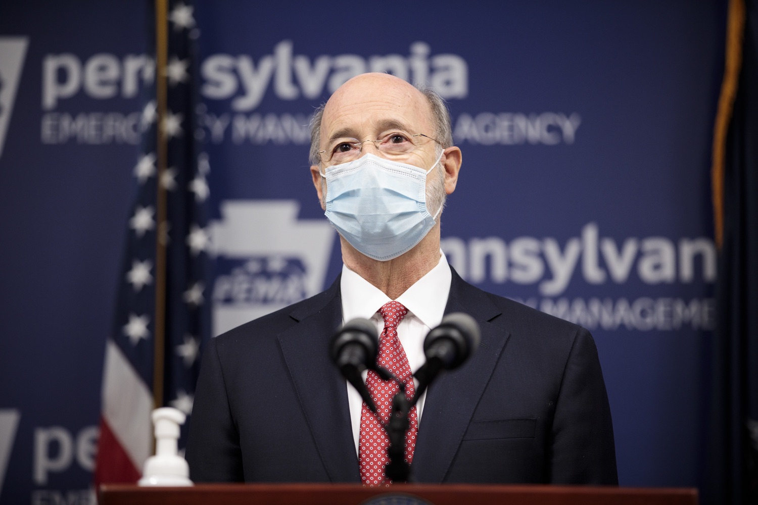 """<a href=""""https://filesource.wostreaming.net/commonwealthofpa/photo/18465_gov_electoralCollege_dz_09.jpg"""" target=""""_blank"""">⇣Download Photo<br></a>Pennsylvania Governor Tom Wolf speaking at the press conference.  With Congress preparing to count Electoral College votes today, Governor Tom Wolf was joined by Secretary of State Kathy Boockvar and Philadelphia City Commissioner Al Schmidt to emphasize that Pennsylvania had a free, fair and secure election. All efforts by Congressional Republicans to overthrow the election results and subvert the will of the voters are disgraceful and must be rejected. Harrisburg, PA  January 6, 2021"""