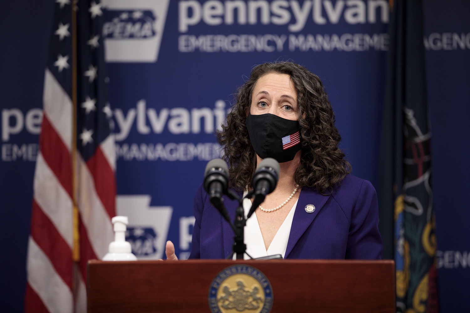 """<a href=""""https://filesource.wostreaming.net/commonwealthofpa/photo/18465_gov_electoralCollege_dz_12.jpg"""" target=""""_blank"""">⇣Download Photo<br></a>Secretary of the Commonwealth of Pennsylvania Kathy Boockvar speaking at the press conference.  With Congress preparing to count Electoral College votes today, Governor Tom Wolf was joined by Secretary of State Kathy Boockvar and Philadelphia City Commissioner Al Schmidt to emphasize that Pennsylvania had a free, fair and secure election. All efforts by Congressional Republicans to overthrow the election results and subvert the will of the voters are disgraceful and must be rejected. Harrisburg, PA  January 6, 2021"""