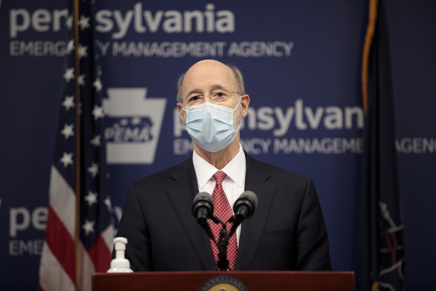 """<a href=""""https://filesource.wostreaming.net/commonwealthofpa/photo/18465_gov_electoralCollege_dz_13.jpg"""" target=""""_blank"""">⇣Download Photo<br></a>Pennsylvania Governor Tom Wolf speaking at the press conference.  With Congress preparing to count Electoral College votes today, Governor Tom Wolf was joined by Secretary of State Kathy Boockvar and Philadelphia City Commissioner Al Schmidt to emphasize that Pennsylvania had a free, fair and secure election. All efforts by Congressional Republicans to overthrow the election results and subvert the will of the voters are disgraceful and must be rejected. Harrisburg, PA  January 6, 2021"""