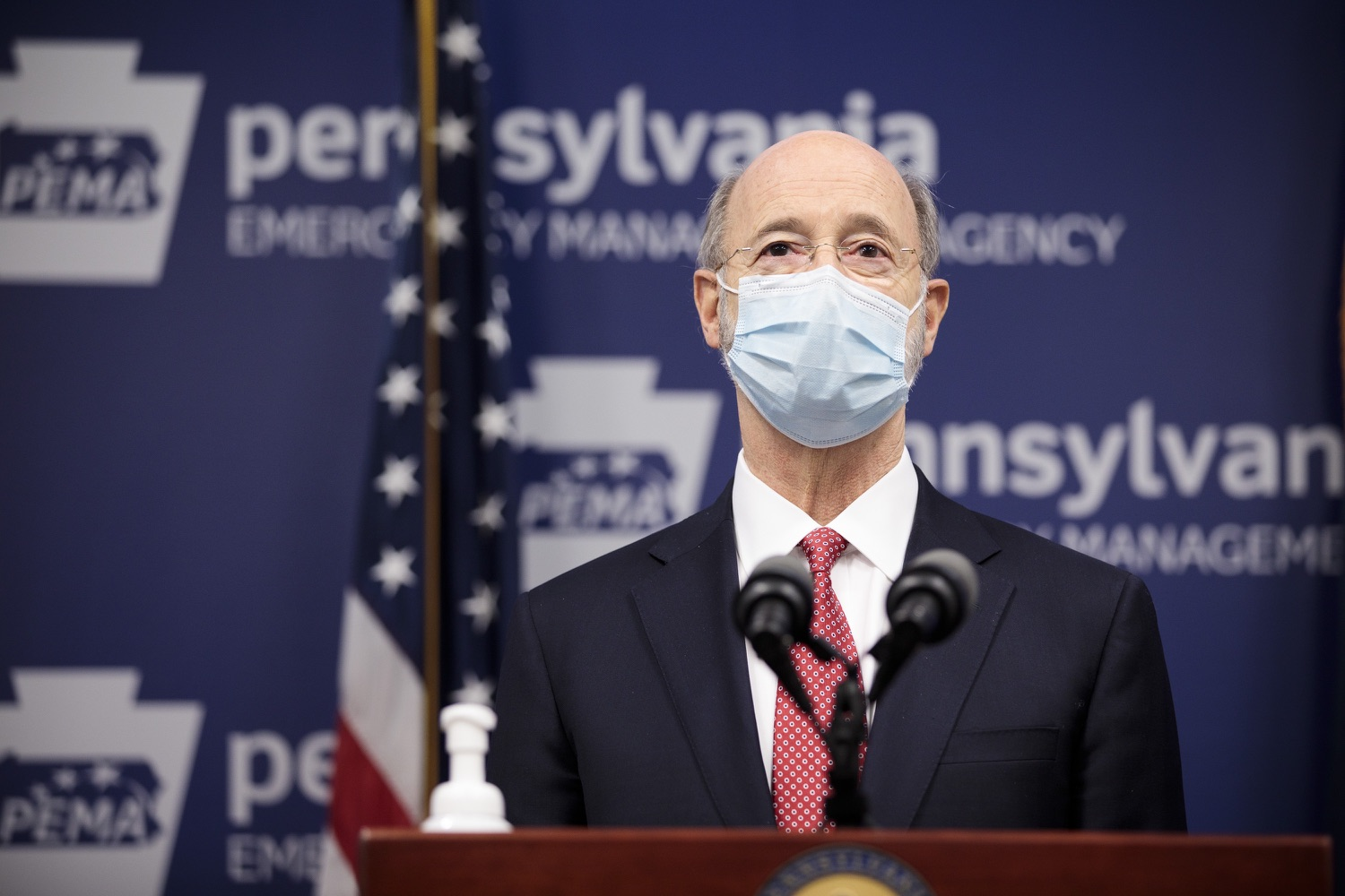 """<a href=""""https://filesource.wostreaming.net/commonwealthofpa/photo/18465_gov_electoralCollege_dz_18.jpg"""" target=""""_blank"""">⇣Download Photo<br></a>Pennsylvania Governor Tom Wolf speaking at the press conference.  With Congress preparing to count Electoral College votes today, Governor Tom Wolf was joined by Secretary of State Kathy Boockvar and Philadelphia City Commissioner Al Schmidt to emphasize that Pennsylvania had a free, fair and secure election. All efforts by Congressional Republicans to overthrow the election results and subvert the will of the voters are disgraceful and must be rejected. Harrisburg, PA  January 6, 2021"""