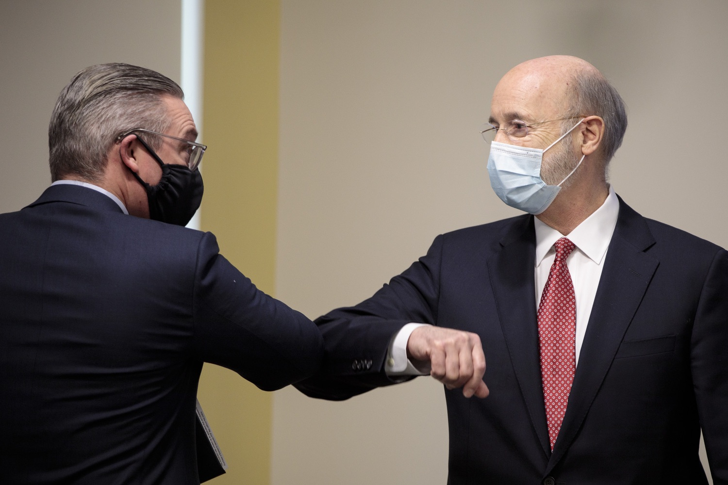 """<a href=""""https://filesource.wostreaming.net/commonwealthofpa/photo/18465_gov_electoralCollege_dz_20.jpg"""" target=""""_blank"""">⇣Download Photo<br></a>Pennsylvania Governor Tom Wolf and Philadelphia City Commissioner Al Schmidt speak after the event.  With Congress preparing to count Electoral College votes today, Governor Tom Wolf was joined by Secretary of State Kathy Boockvar and Philadelphia City Commissioner Al Schmidt to emphasize that Pennsylvania had a free, fair and secure election. All efforts by Congressional Republicans to overthrow the election results and subvert the will of the voters are disgraceful and must be rejected. Harrisburg, PA  January 6, 2021"""