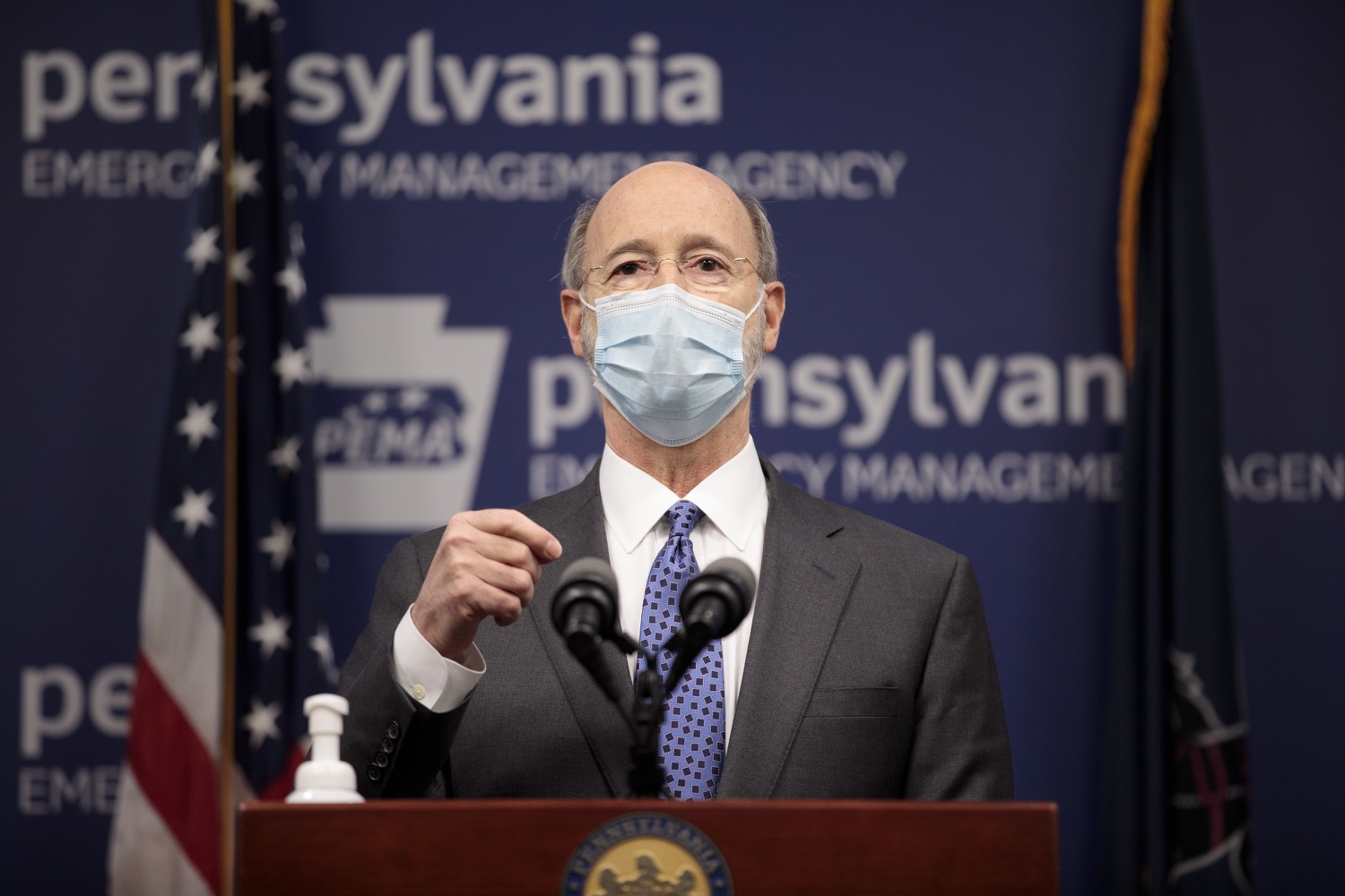 """<a href=""""https://filesource.wostreaming.net/commonwealthofpa/photo/18472_gov_vaccine_dz_01.jpg"""" target=""""_blank"""">⇣Download Photo<br></a>Pennsylvania Governor Tom Wolf speaks at the press conference.  The commonwealths COVID-19 vaccination distribution plan was designed to be fluid and flexible to meet guidance and recommendations from the federal government. Today, Governor Tom Wolf and Secretary of Health Dr. Rachel Levine announced the fourth version of the plan, detailing the updates and how the state is working to ensure safe, swift implementation. Harrisburg, PA  January 8, 2021"""