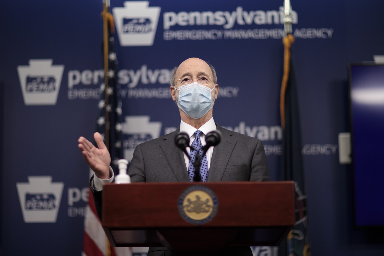 "<a href=""https://filesource.wostreaming.net/commonwealthofpa/photo/18472_gov_vaccine_dz_02.jpg"" target=""_blank"">⇣ Download Photo<br></a>Pennsylvania Governor Tom Wolf speaks at the press conference.  The commonwealths COVID-19 vaccination distribution plan was designed to be fluid and flexible to meet guidance and recommendations from the federal government. Today, Governor Tom Wolf and Secretary of Health Dr. Rachel Levine announced the fourth version of the plan, detailing the updates and how the state is working to ensure safe, swift implementation. Harrisburg, PA  January 8, 2021"