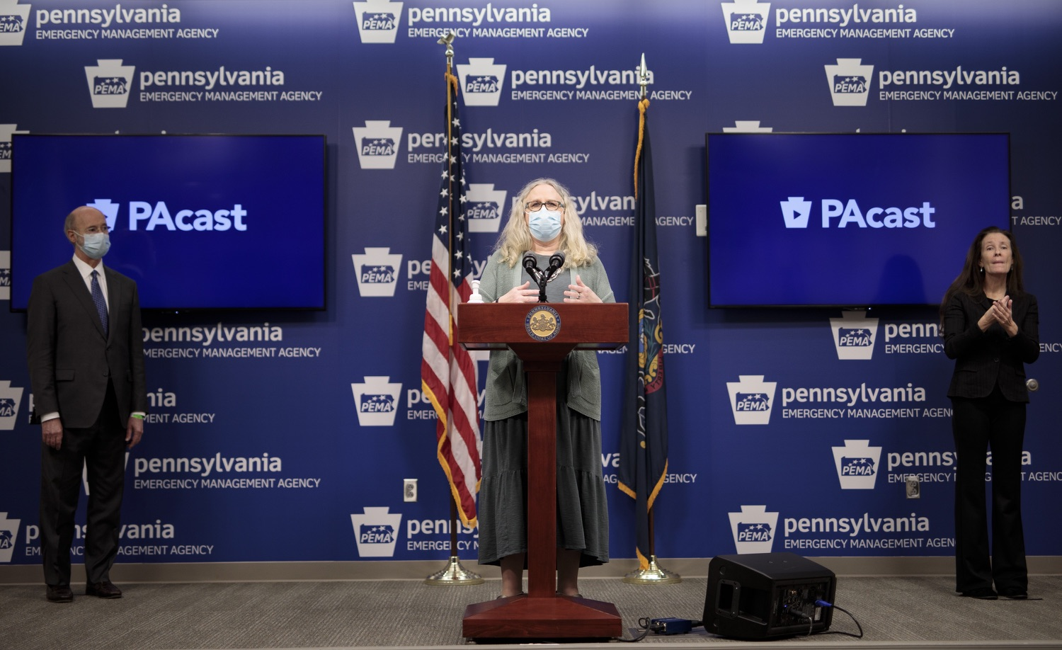"""<a href=""""https://filesource.wostreaming.net/commonwealthofpa/photo/18472_gov_vaccine_dz_03.jpg"""" target=""""_blank"""">⇣Download Photo<br></a>Secretary of Health Dr. Rachel Levine speaks at the press conference.  The commonwealths COVID-19 vaccination distribution plan was designed to be fluid and flexible to meet guidance and recommendations from the federal government. Today, Governor Tom Wolf and Secretary of Health Dr. Rachel Levine announced the fourth version of the plan, detailing the updates and how the state is working to ensure safe, swift implementation. Harrisburg, PA  January 8, 2021"""