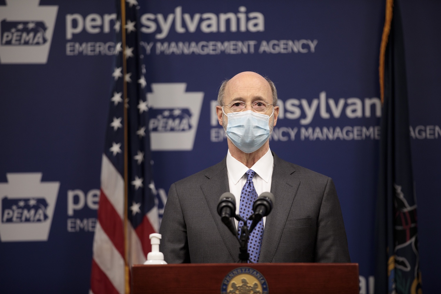 """<a href=""""https://filesource.wostreaming.net/commonwealthofpa/photo/18472_gov_vaccine_dz_05.jpg"""" target=""""_blank"""">⇣Download Photo<br></a>Pennsylvania Governor Tom Wolf speaks at the press conference.  The commonwealths COVID-19 vaccination distribution plan was designed to be fluid and flexible to meet guidance and recommendations from the federal government. Today, Governor Tom Wolf and Secretary of Health Dr. Rachel Levine announced the fourth version of the plan, detailing the updates and how the state is working to ensure safe, swift implementation. Harrisburg, PA  January 8, 2021"""