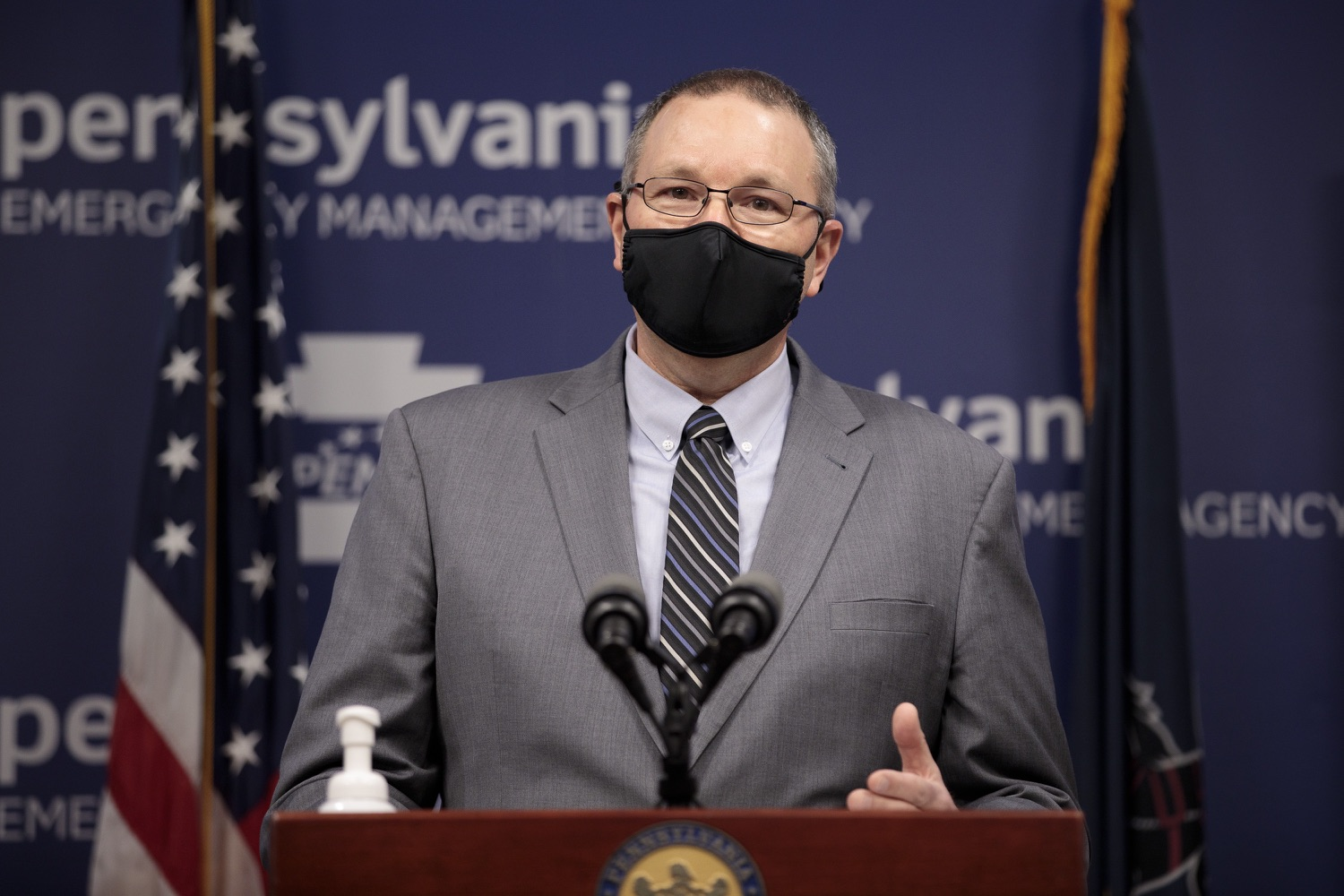 "<a href=""https://filesource.wostreaming.net/commonwealthofpa/photo/18472_gov_vaccine_dz_06.jpg"" target=""_blank"">⇣ Download Photo<br></a>PEMA Director Randy Padfield speaks at the press conference.  The commonwealths COVID-19 vaccination distribution plan was designed to be fluid and flexible to meet guidance and recommendations from the federal government. Today, Governor Tom Wolf and Secretary of Health Dr. Rachel Levine announced the fourth version of the plan, detailing the updates and how the state is working to ensure safe, swift implementation. Harrisburg, PA  January 8, 2021"
