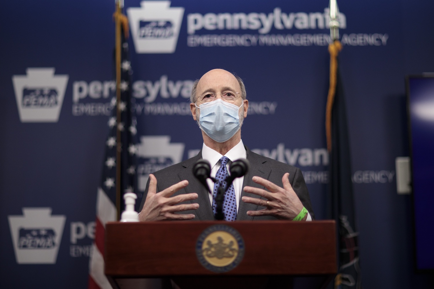 """<a href=""""https://filesource.wostreaming.net/commonwealthofpa/photo/18472_gov_vaccine_dz_07.jpg"""" target=""""_blank"""">⇣Download Photo<br></a>Pennsylvania Governor Tom Wolf speaks at the press conference.  The commonwealths COVID-19 vaccination distribution plan was designed to be fluid and flexible to meet guidance and recommendations from the federal government. Today, Governor Tom Wolf and Secretary of Health Dr. Rachel Levine announced the fourth version of the plan, detailing the updates and how the state is working to ensure safe, swift implementation. Harrisburg, PA  January 8, 2021"""