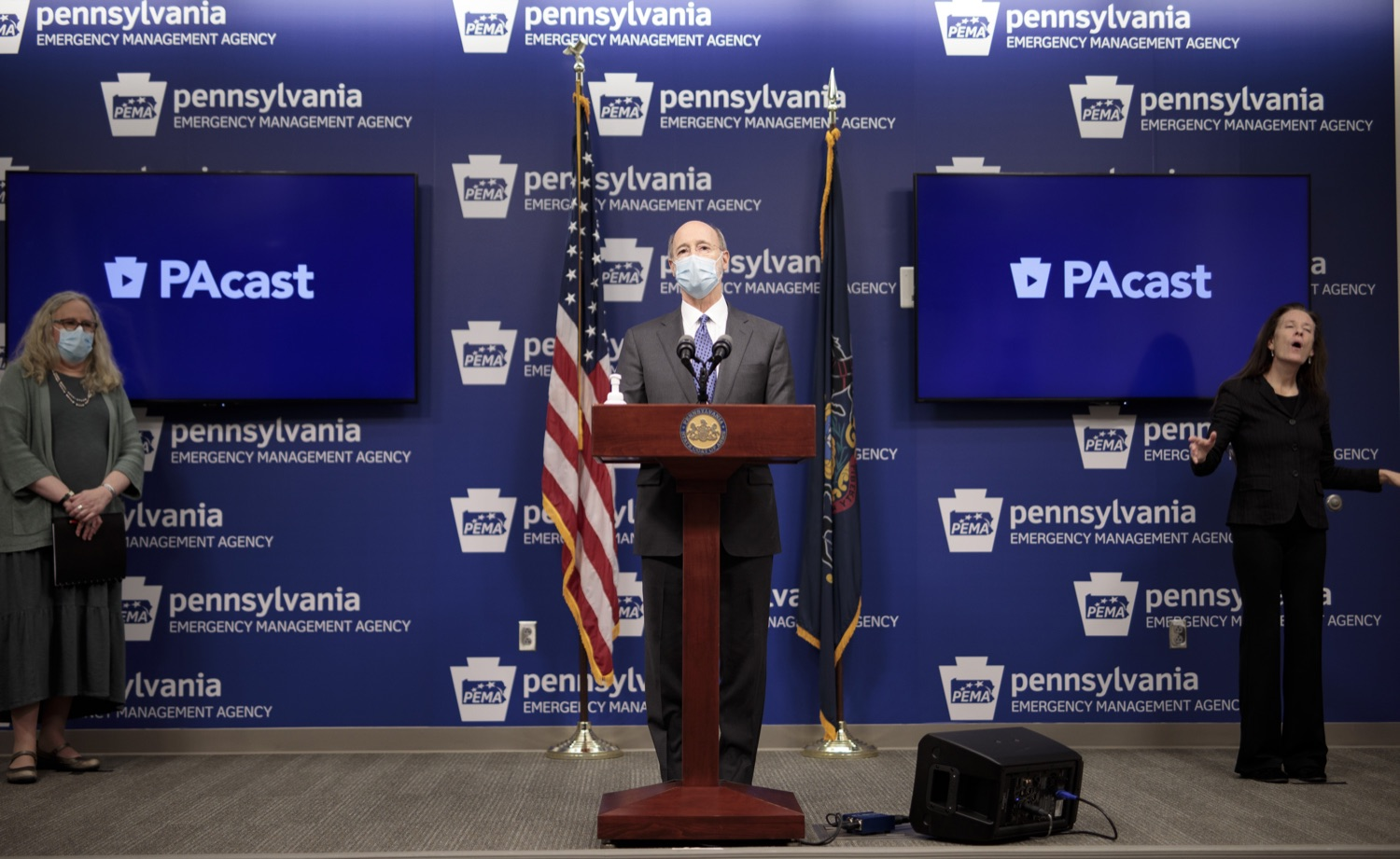 """<a href=""""https://filesource.wostreaming.net/commonwealthofpa/photo/18472_gov_vaccine_dz_08.jpg"""" target=""""_blank"""">⇣Download Photo<br></a>Pennsylvania Governor Tom Wolf speaks at the press conference.  The commonwealths COVID-19 vaccination distribution plan was designed to be fluid and flexible to meet guidance and recommendations from the federal government. Today, Governor Tom Wolf and Secretary of Health Dr. Rachel Levine announced the fourth version of the plan, detailing the updates and how the state is working to ensure safe, swift implementation. Harrisburg, PA  January 8, 2021"""
