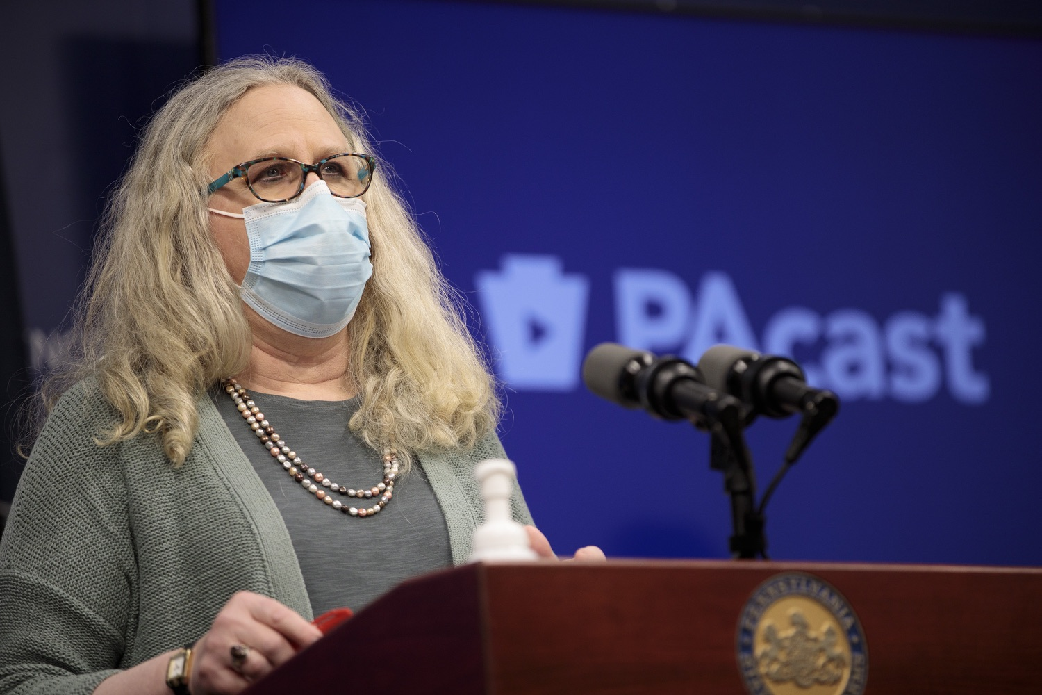 "<a href=""https://filesource.wostreaming.net/commonwealthofpa/photo/18472_gov_vaccine_dz_09.jpg"" target=""_blank"">⇣ Download Photo<br></a>Secretary of Health Dr. Rachel Levine speaks at the press conference.  The commonwealths COVID-19 vaccination distribution plan was designed to be fluid and flexible to meet guidance and recommendations from the federal government. Today, Governor Tom Wolf and Secretary of Health Dr. Rachel Levine announced the fourth version of the plan, detailing the updates and how the state is working to ensure safe, swift implementation. Harrisburg, PA  January 8, 2021"