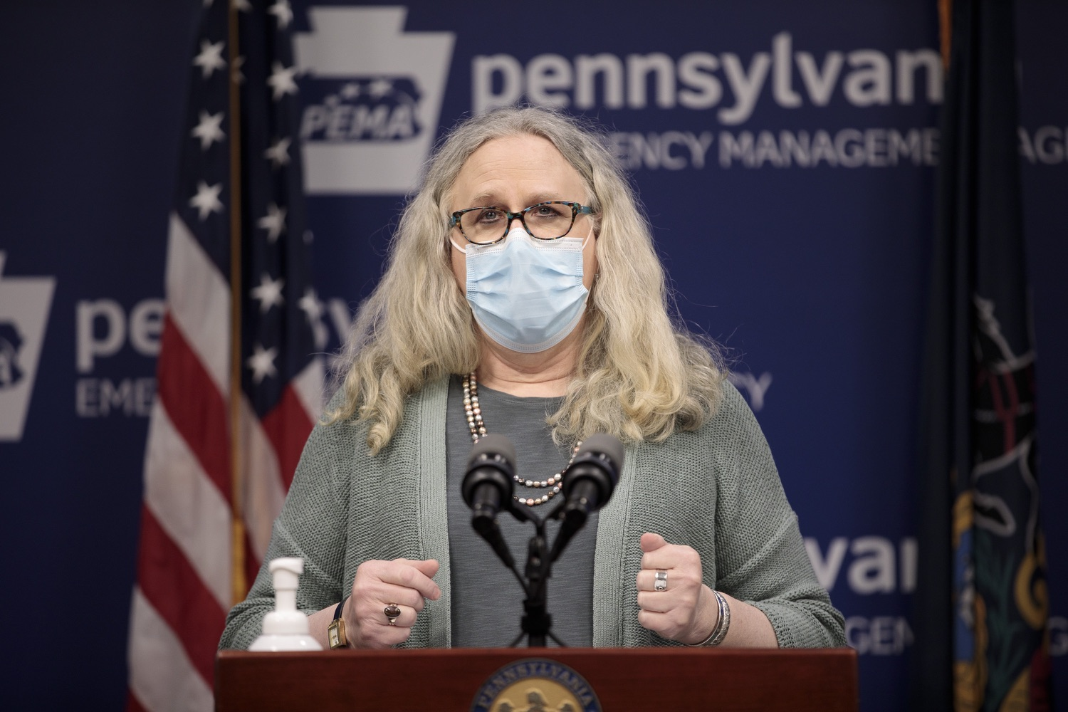 "<a href=""https://filesource.wostreaming.net/commonwealthofpa/photo/18472_gov_vaccine_dz_11.jpg"" target=""_blank"">⇣ Download Photo<br></a>Secretary of Health Dr. Rachel Levine speaks at the press conference.  The commonwealths COVID-19 vaccination distribution plan was designed to be fluid and flexible to meet guidance and recommendations from the federal government. Today, Governor Tom Wolf and Secretary of Health Dr. Rachel Levine announced the fourth version of the plan, detailing the updates and how the state is working to ensure safe, swift implementation. Harrisburg, PA  January 8, 2021"