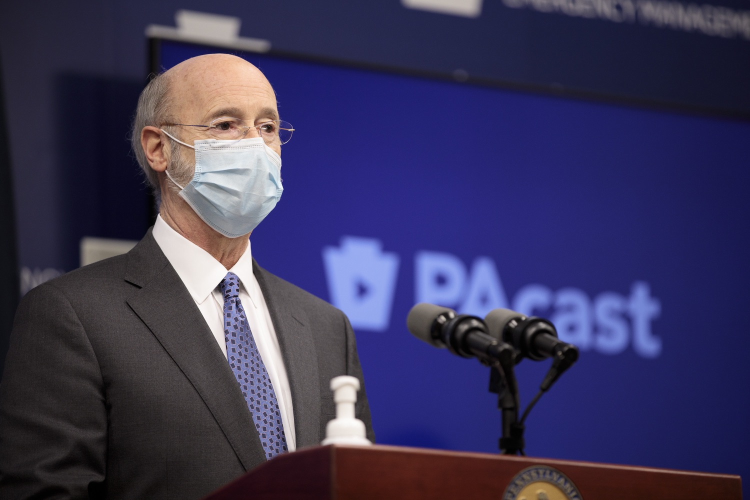 """<a href=""""https://filesource.wostreaming.net/commonwealthofpa/photo/18472_gov_vaccine_dz_12.jpg"""" target=""""_blank"""">⇣Download Photo<br></a>Pennsylvania Governor Tom Wolf speaks at the press conference.  The commonwealths COVID-19 vaccination distribution plan was designed to be fluid and flexible to meet guidance and recommendations from the federal government. Today, Governor Tom Wolf and Secretary of Health Dr. Rachel Levine announced the fourth version of the plan, detailing the updates and how the state is working to ensure safe, swift implementation. Harrisburg, PA  January 8, 2021"""