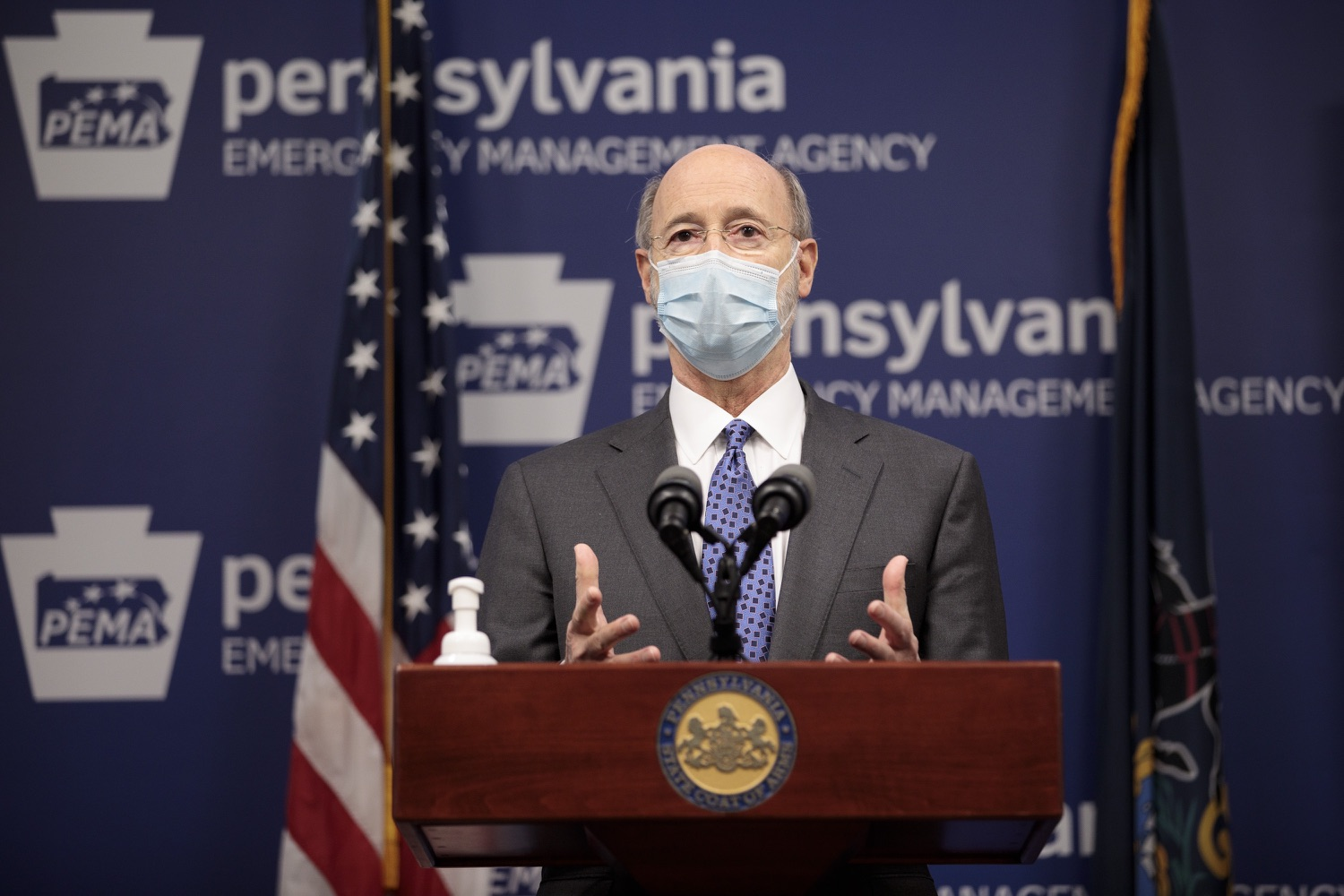 """<a href=""""https://filesource.wostreaming.net/commonwealthofpa/photo/18472_gov_vaccine_dz_14.jpg"""" target=""""_blank"""">⇣Download Photo<br></a>Pennsylvania Governor Tom Wolf speaks at the press conference.  The commonwealths COVID-19 vaccination distribution plan was designed to be fluid and flexible to meet guidance and recommendations from the federal government. Today, Governor Tom Wolf and Secretary of Health Dr. Rachel Levine announced the fourth version of the plan, detailing the updates and how the state is working to ensure safe, swift implementation. Harrisburg, PA  January 8, 2021"""