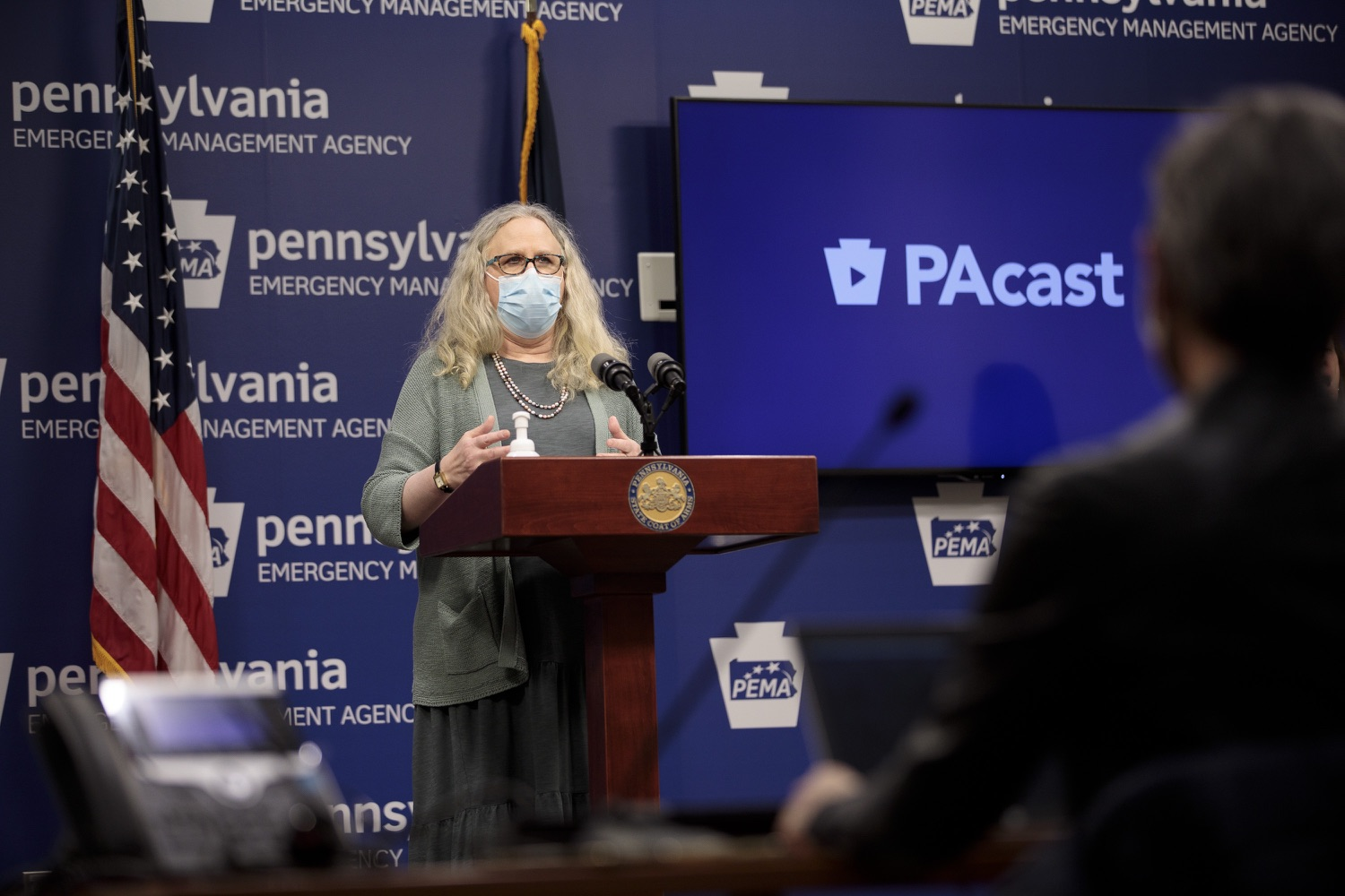 "<a href=""https://filesource.wostreaming.net/commonwealthofpa/photo/18472_gov_vaccine_dz_16.jpg"" target=""_blank"">⇣ Download Photo<br></a>Secretary of Health Dr. Rachel Levine speaks at the press conference.  The commonwealths COVID-19 vaccination distribution plan was designed to be fluid and flexible to meet guidance and recommendations from the federal government. Today, Governor Tom Wolf and Secretary of Health Dr. Rachel Levine announced the fourth version of the plan, detailing the updates and how the state is working to ensure safe, swift implementation. Harrisburg, PA  January 8, 2021"