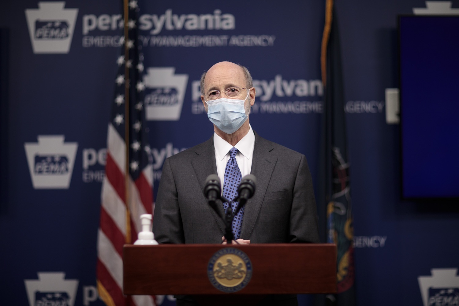 """<a href=""""https://filesource.wostreaming.net/commonwealthofpa/photo/18472_gov_vaccine_dz_17.jpg"""" target=""""_blank"""">⇣Download Photo<br></a>Pennsylvania Governor Tom Wolf speaks at the press conference.  The commonwealths COVID-19 vaccination distribution plan was designed to be fluid and flexible to meet guidance and recommendations from the federal government. Today, Governor Tom Wolf and Secretary of Health Dr. Rachel Levine announced the fourth version of the plan, detailing the updates and how the state is working to ensure safe, swift implementation. Harrisburg, PA  January 8, 2021"""