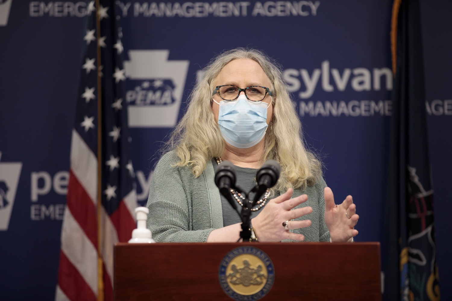 "<a href=""https://filesource.wostreaming.net/commonwealthofpa/photo/18472_gov_vaccine_dz_18.jpg"" target=""_blank"">⇣ Download Photo<br></a>Secretary of Health Dr. Rachel Levine speaks at the press conference.  The commonwealths COVID-19 vaccination distribution plan was designed to be fluid and flexible to meet guidance and recommendations from the federal government. Today, Governor Tom Wolf and Secretary of Health Dr. Rachel Levine announced the fourth version of the plan, detailing the updates and how the state is working to ensure safe, swift implementation. Harrisburg, PA  January 8, 2021"
