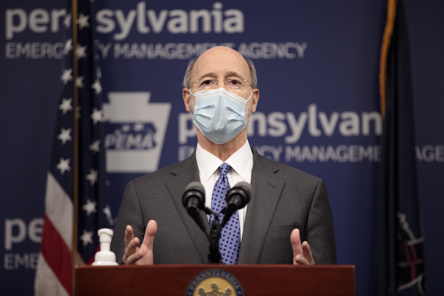 """<a href=""""https://filesource.wostreaming.net/commonwealthofpa/photo/18472_gov_vaccine_dz_20.jpg"""" target=""""_blank"""">⇣Download Photo<br></a>Pennsylvania Governor Tom Wolf speaks at the press conference.  The commonwealths COVID-19 vaccination distribution plan was designed to be fluid and flexible to meet guidance and recommendations from the federal government. Today, Governor Tom Wolf and Secretary of Health Dr. Rachel Levine announced the fourth version of the plan, detailing the updates and how the state is working to ensure safe, swift implementation. Harrisburg, PA  January 8, 2021"""