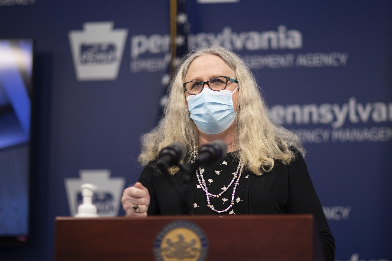 "<a href=""https://filesource.wostreaming.net/commonwealthofpa/photo/18477_gov_covidUpdate_dz_02.jpg"" target=""_blank"">⇣ Download Photo<br></a>Pennsylvania Secretary of Health Dr. Rachel Levine answers questions from the press.  An orderly, planned distribution of the COVID-19 vaccine is a priority of the Wolf Administration and today, Governor Tom Wolf and Department of Health Secretary Dr. Rachel Levine shared an update on the vaccine, stressing its safety and efficacy. Harrisburg, PA  January 12, 2021"