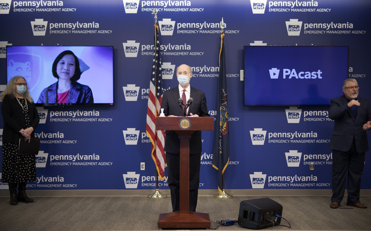 "<a href=""https://filesource.wostreaming.net/commonwealthofpa/photo/18477_gov_covidUpdate_dz_04.jpg"" target=""_blank"">⇣ Download Photo<br></a>Pennsylvania Governor Tom Wolf answers questions from the press.  An orderly, planned distribution of the COVID-19 vaccine is a priority of the Wolf Administration and today, Governor Tom Wolf and Department of Health Secretary Dr. Rachel Levine shared an update on the vaccine, stressing its safety and efficacy. Harrisburg, PA  January 12, 2021"